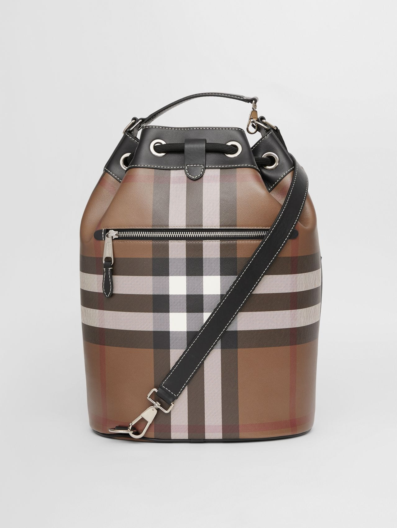 Check Print Leather Drawcord Tote in Dark Birch Brown