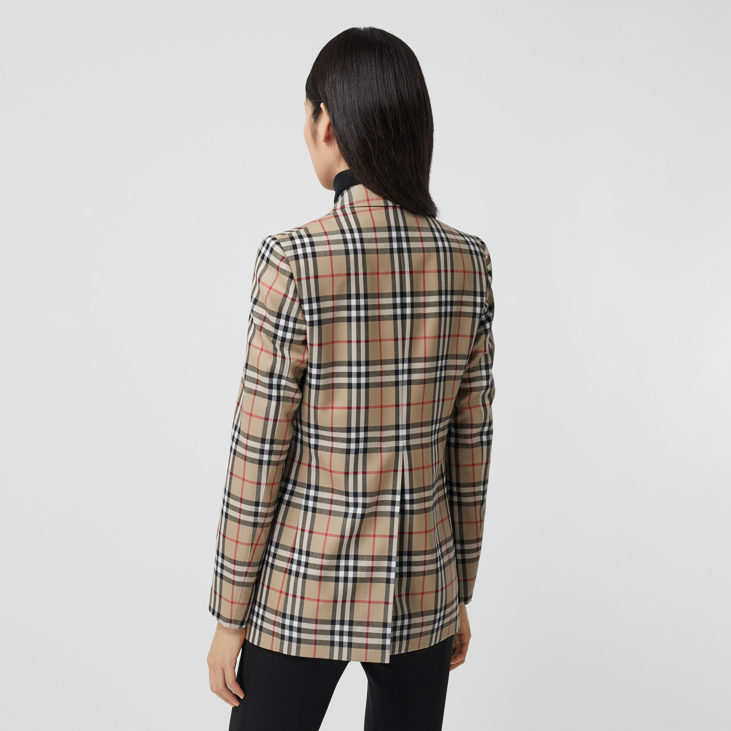 Vintage Check Wool Tailored Jacket in Archive Beige - Women | Burberry - 2