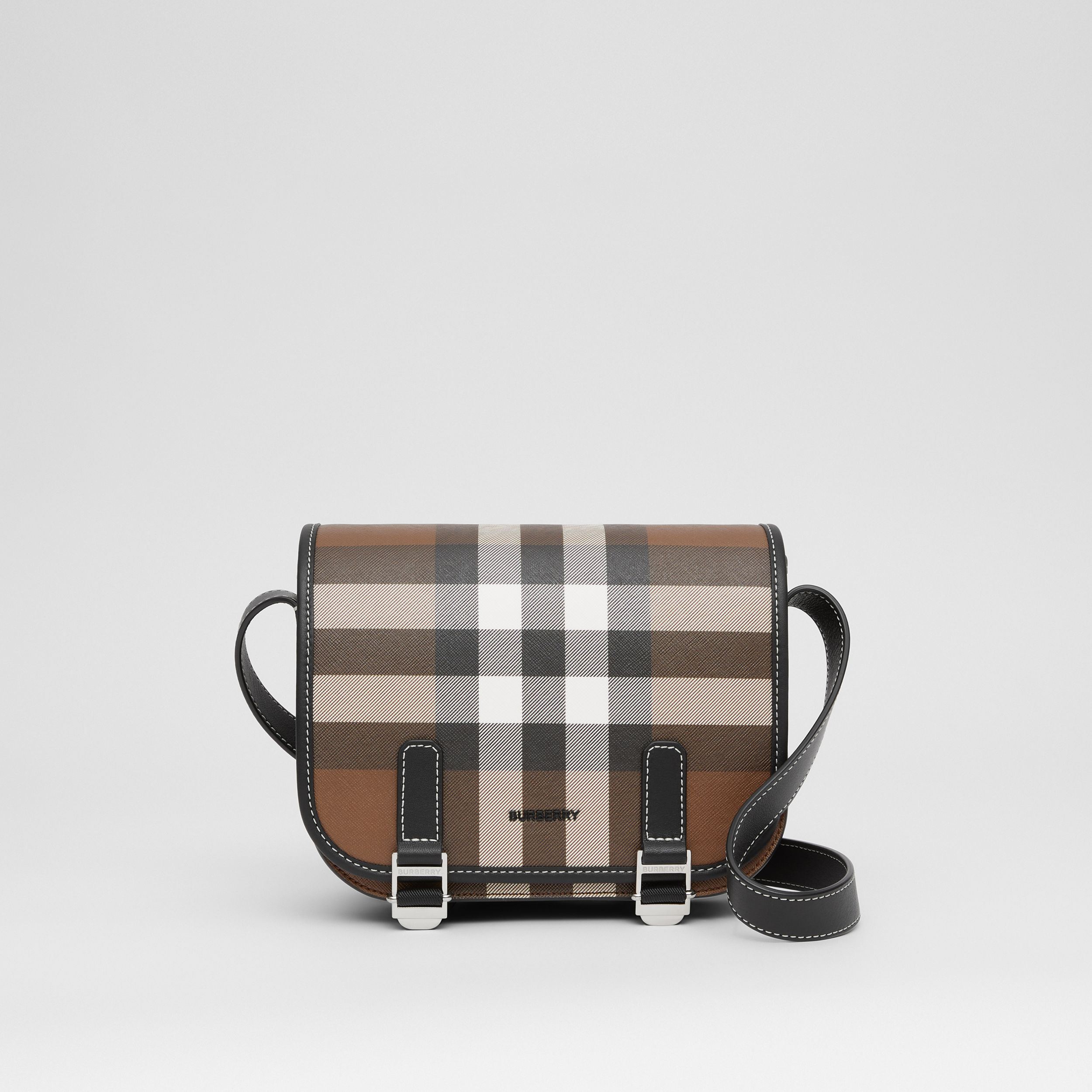 Check E-canvas Messenger Bag in Dark Birch Brown - Men | Burberry - 1