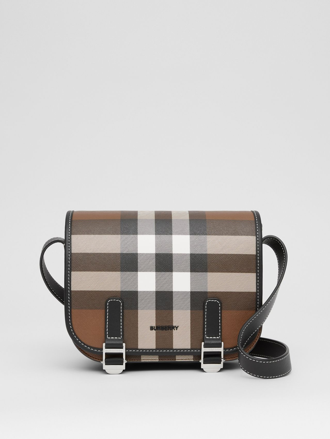 Borsa messenger in e-canvas con motivo tartan (Marrone Betulla Scuro)
