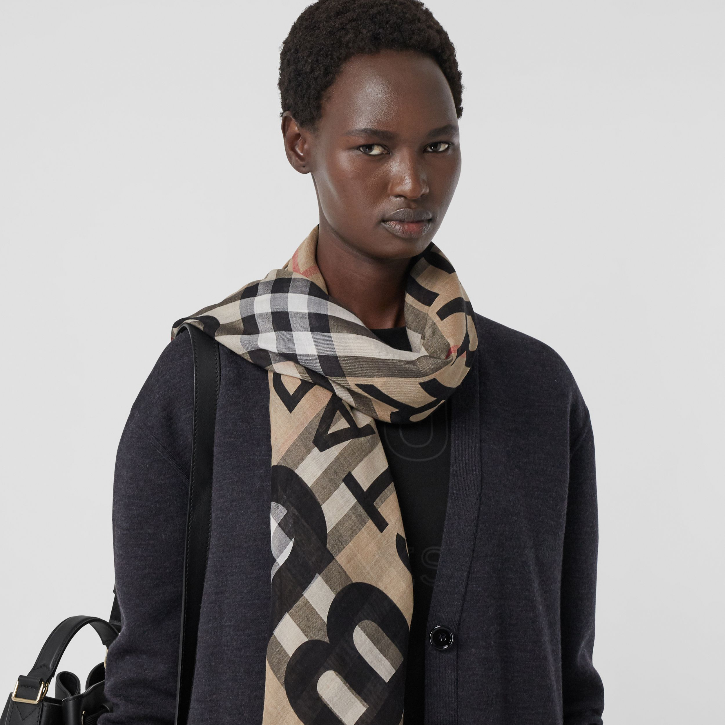 Horseferry Print Check Wool Silk Large Square Scarf in Archive Beige | Burberry United Kingdom - 3