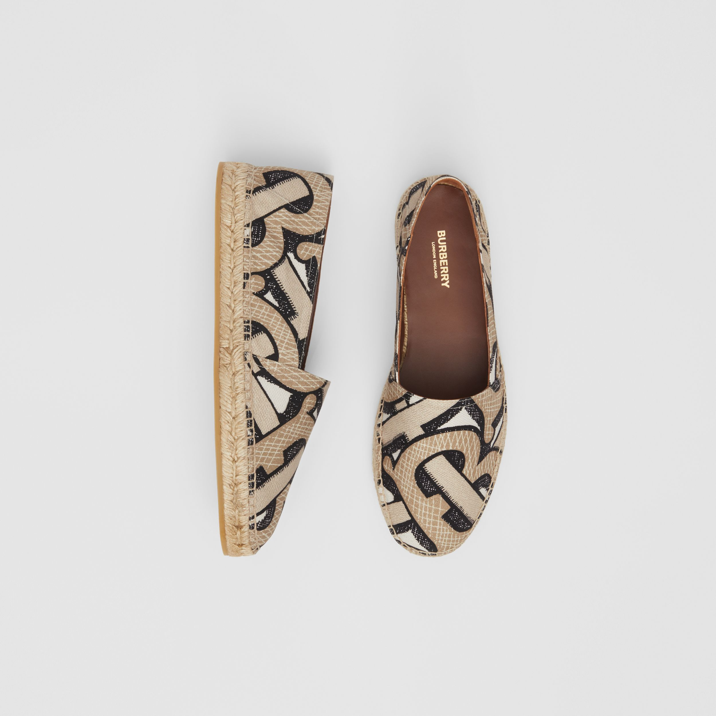 Monogram Print Cotton Canvas Espadrilles in Dark Beige | Burberry - 1