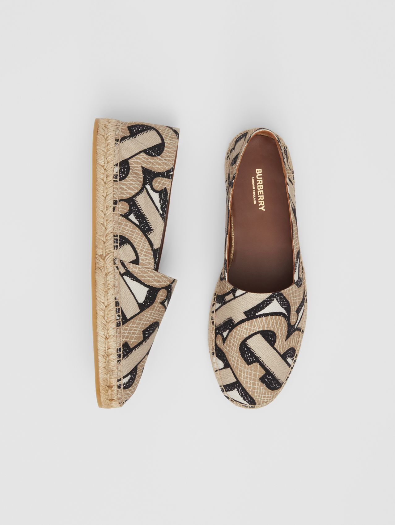 Monogram Print Cotton Canvas Espadrilles (Dark Beige)