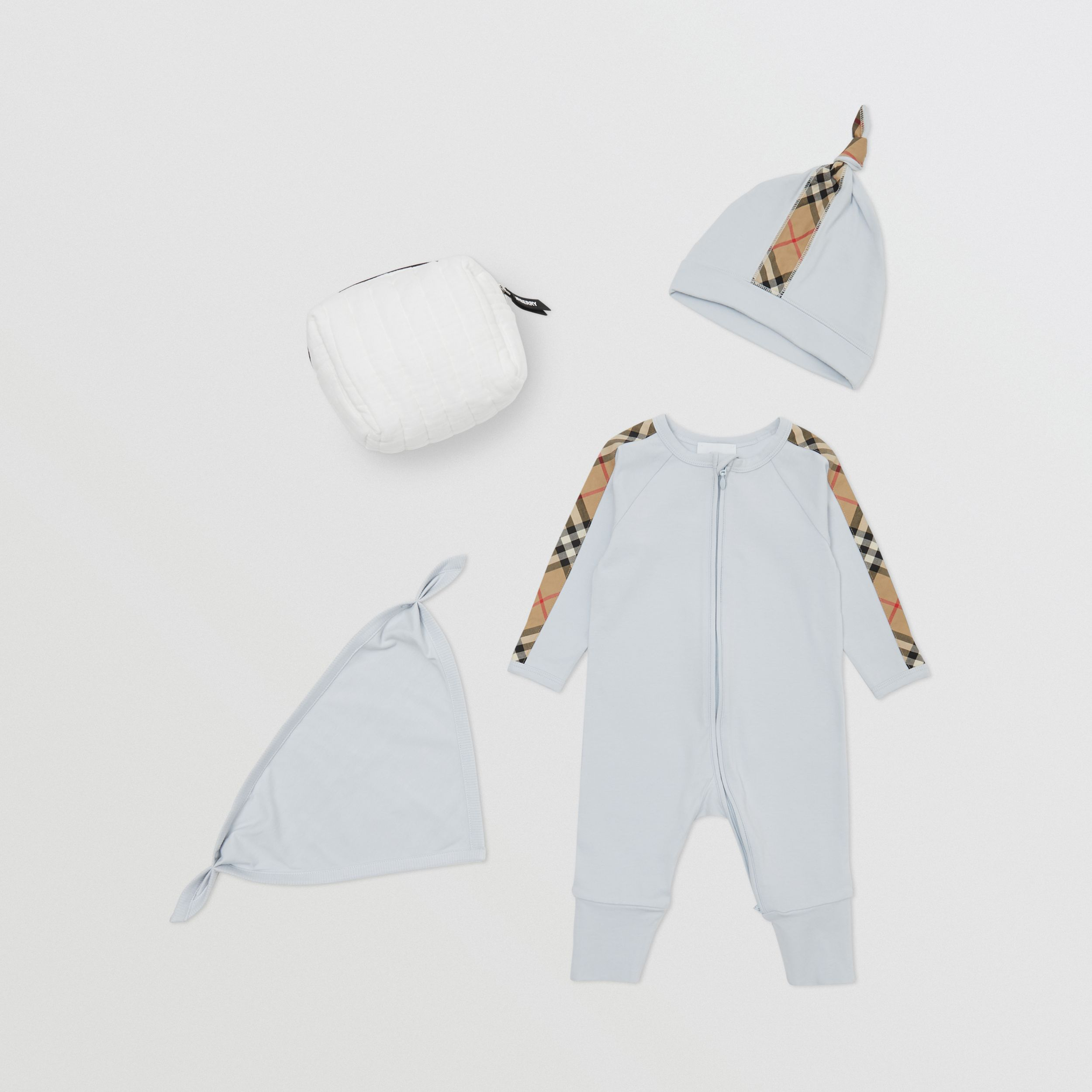 Check Trim Cotton Three-piece Baby Gift Set in Ice Blue - Children | Burberry Hong Kong S.A.R. - 1