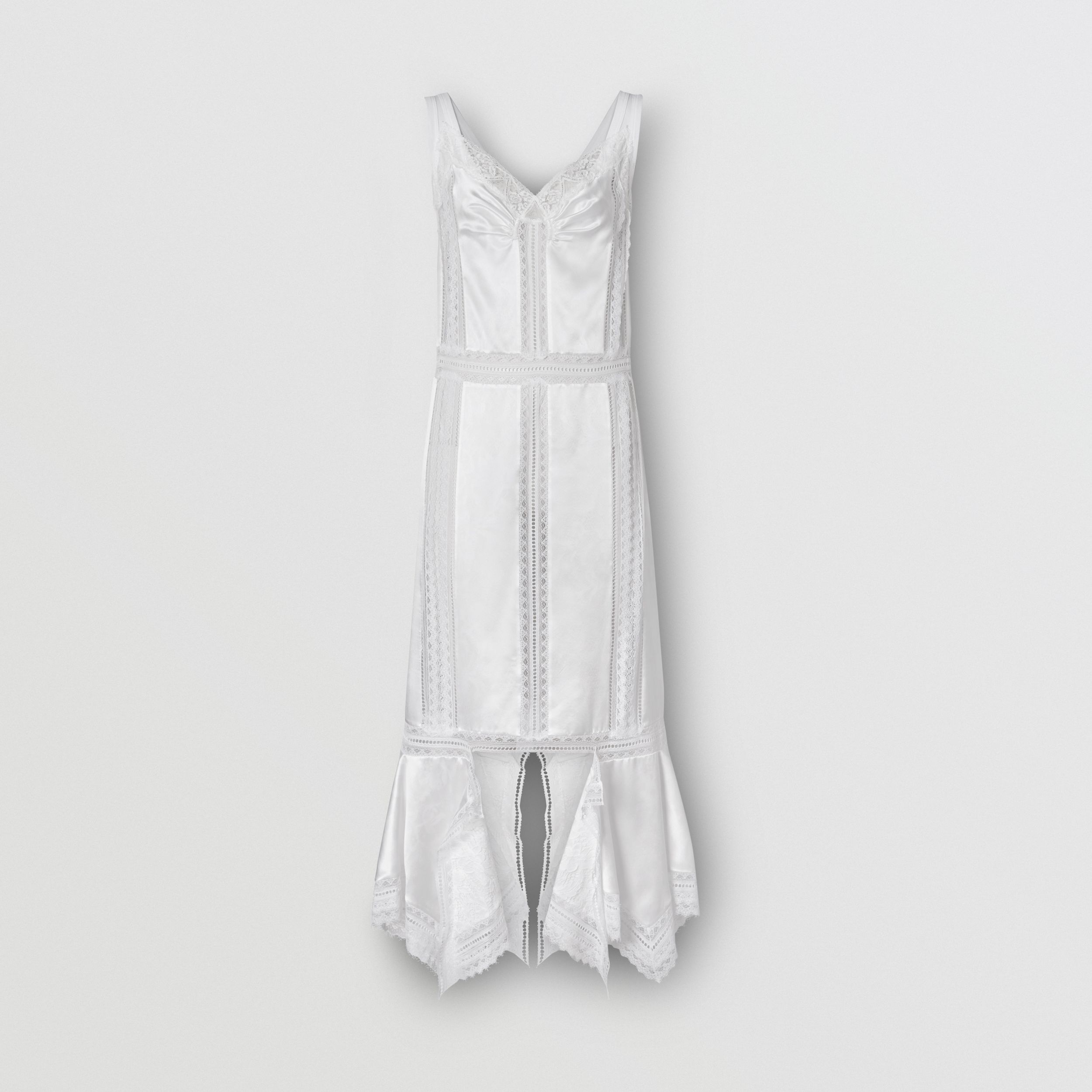Chantilly Lace and Silk Satin Slip Dress in Optic White - Women | Burberry - 1