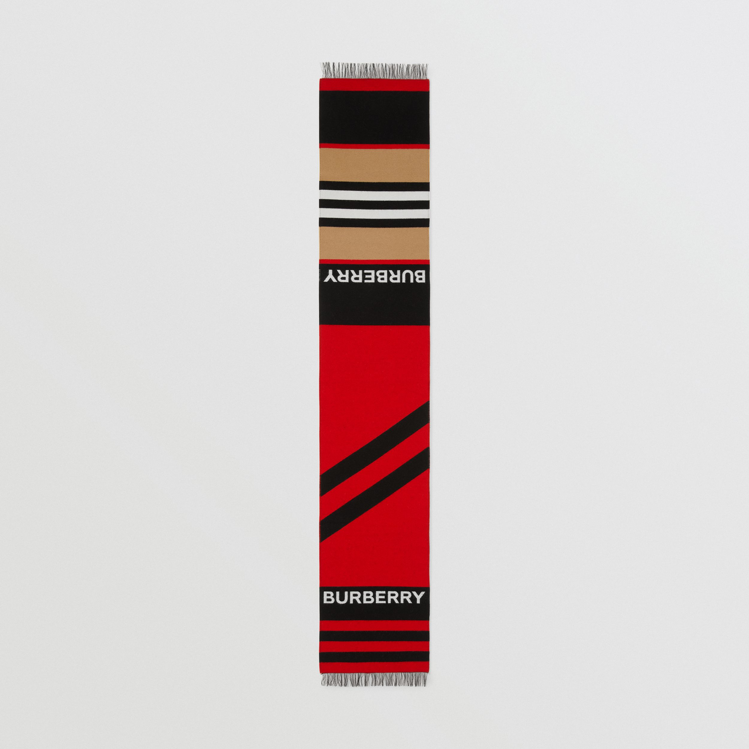Logo and Icon Stripe Wool Cotton Jacquard Scarf in Bright Red - Children | Burberry - 3