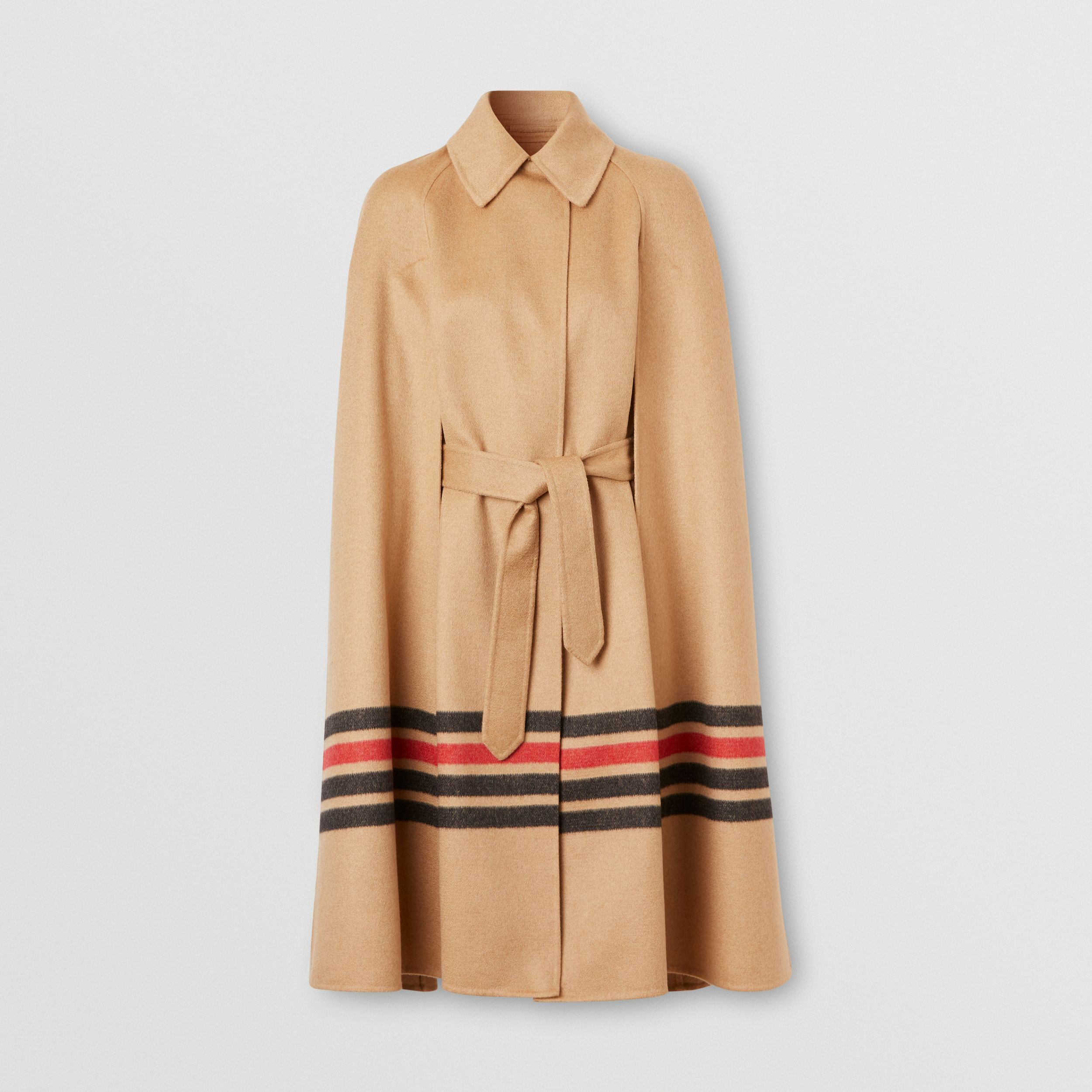 Stripe Detail Double-faced Cashmere Cape in Light Camel - Women | Burberry - 4