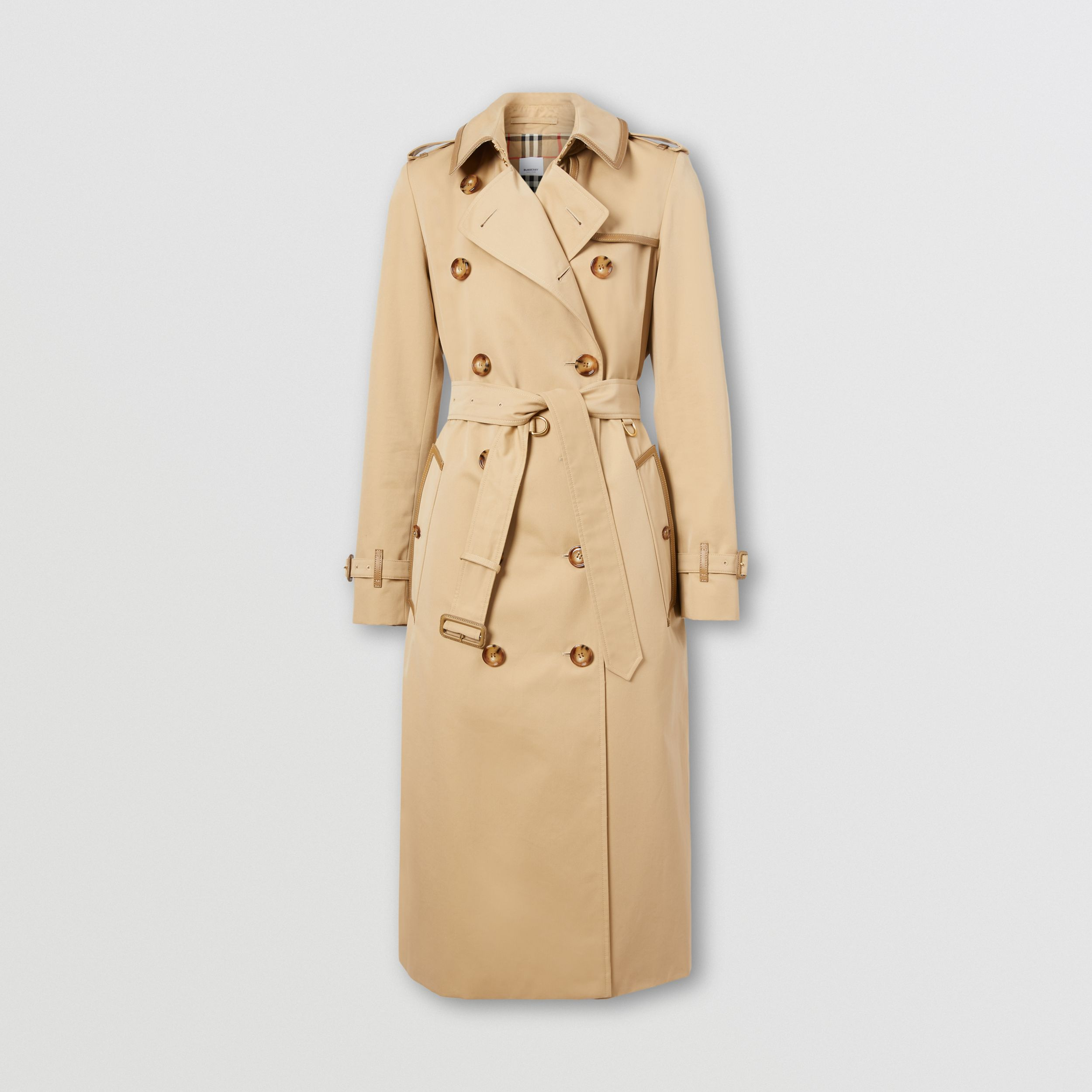 Leather Trim Cotton Gabardine Trench Coat in Honey - Women | Burberry United States - 4