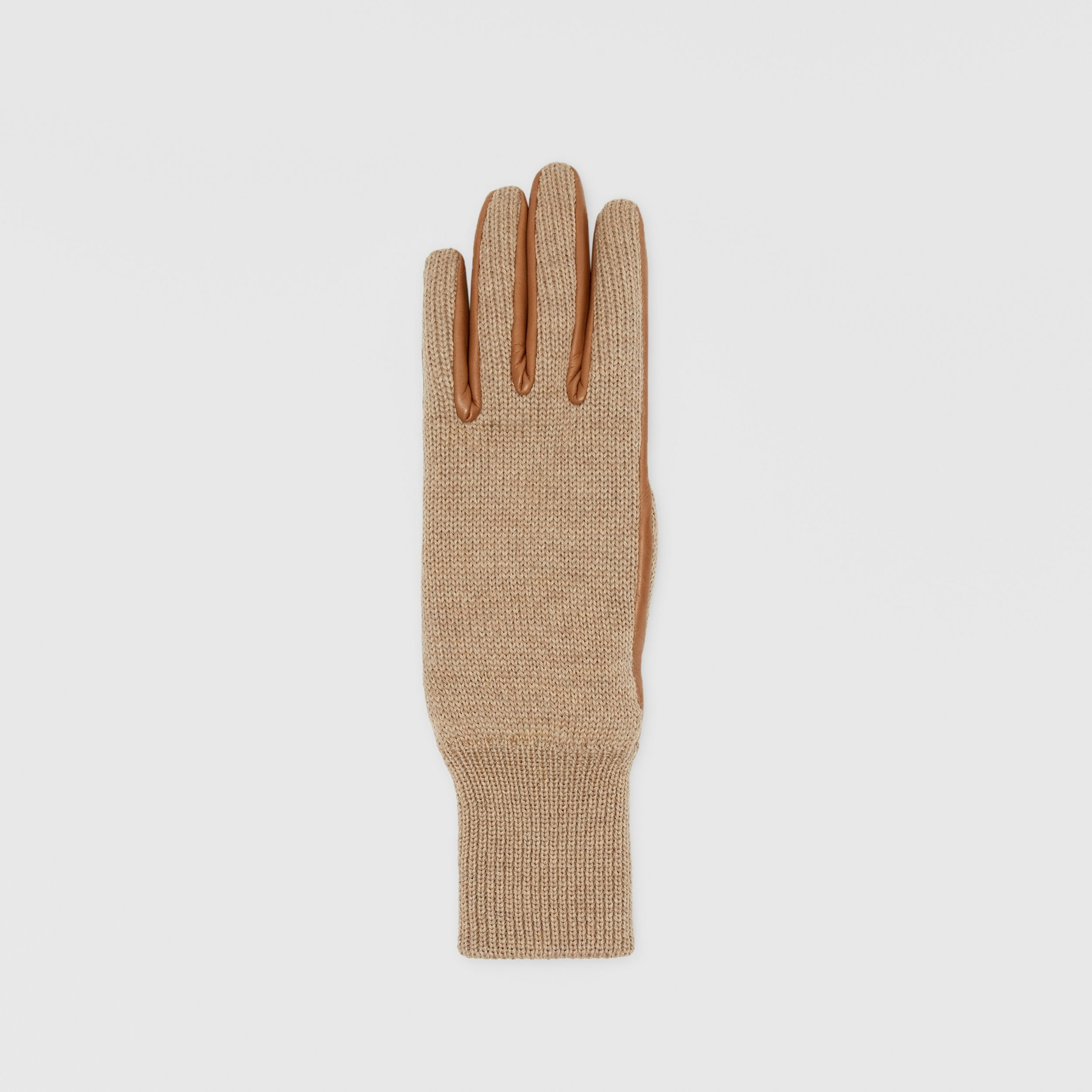 Cashmere-lined Merino Wool and Lambskin Gloves in Bronze | Burberry - 2