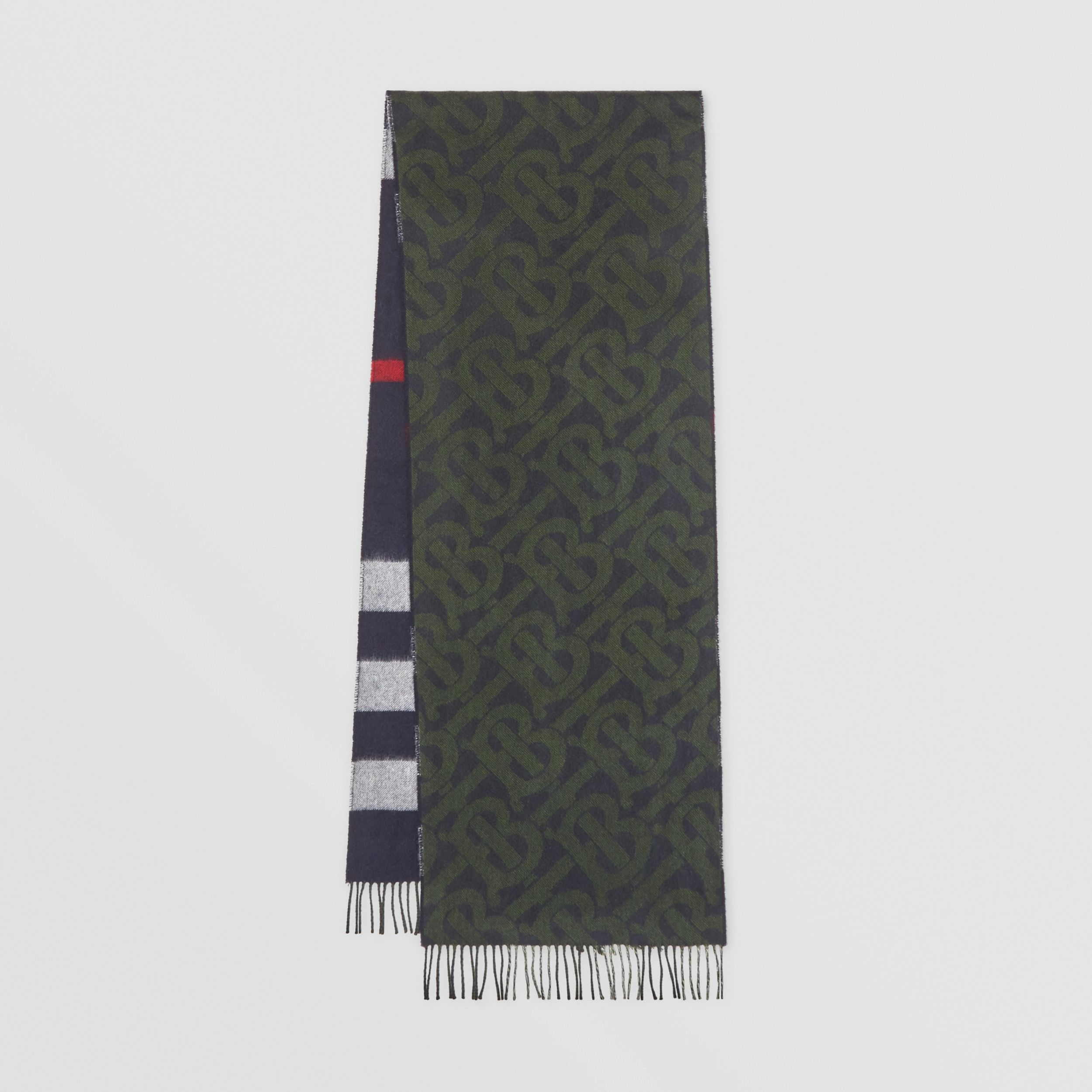 Reversible Check and Monogram Cashmere Scarf in Navy/caper Green | Burberry Hong Kong S.A.R. - 1