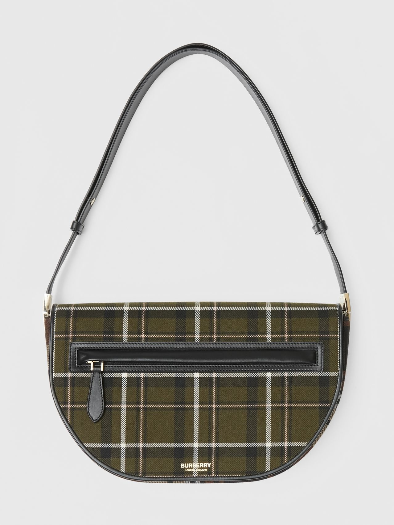Medium Tartan Wool and Leather Olympia Bag in Dark Green