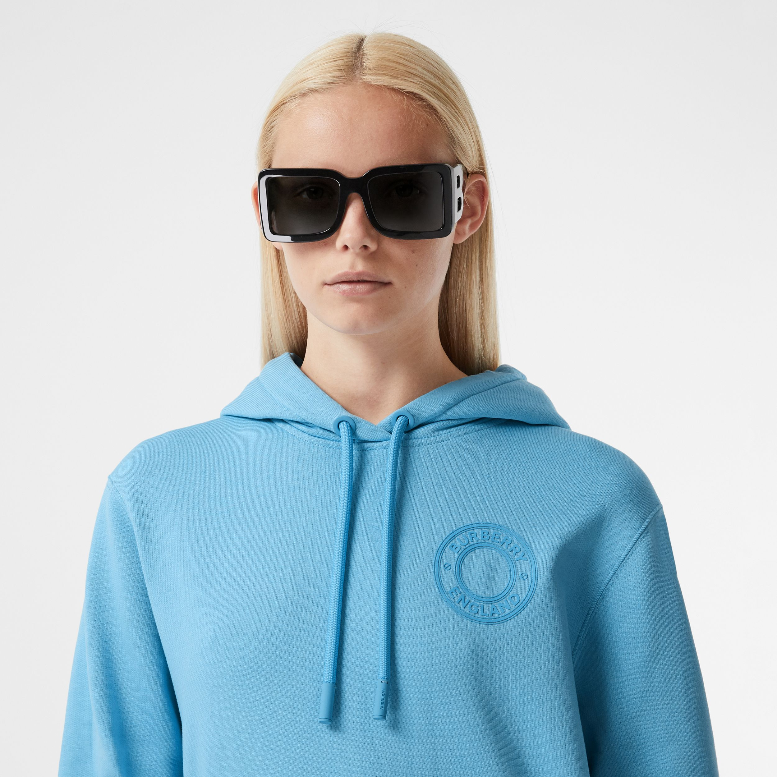 Logo Graphic Cotton Oversized Hoodie in Blue Topaz - Women | Burberry - 2