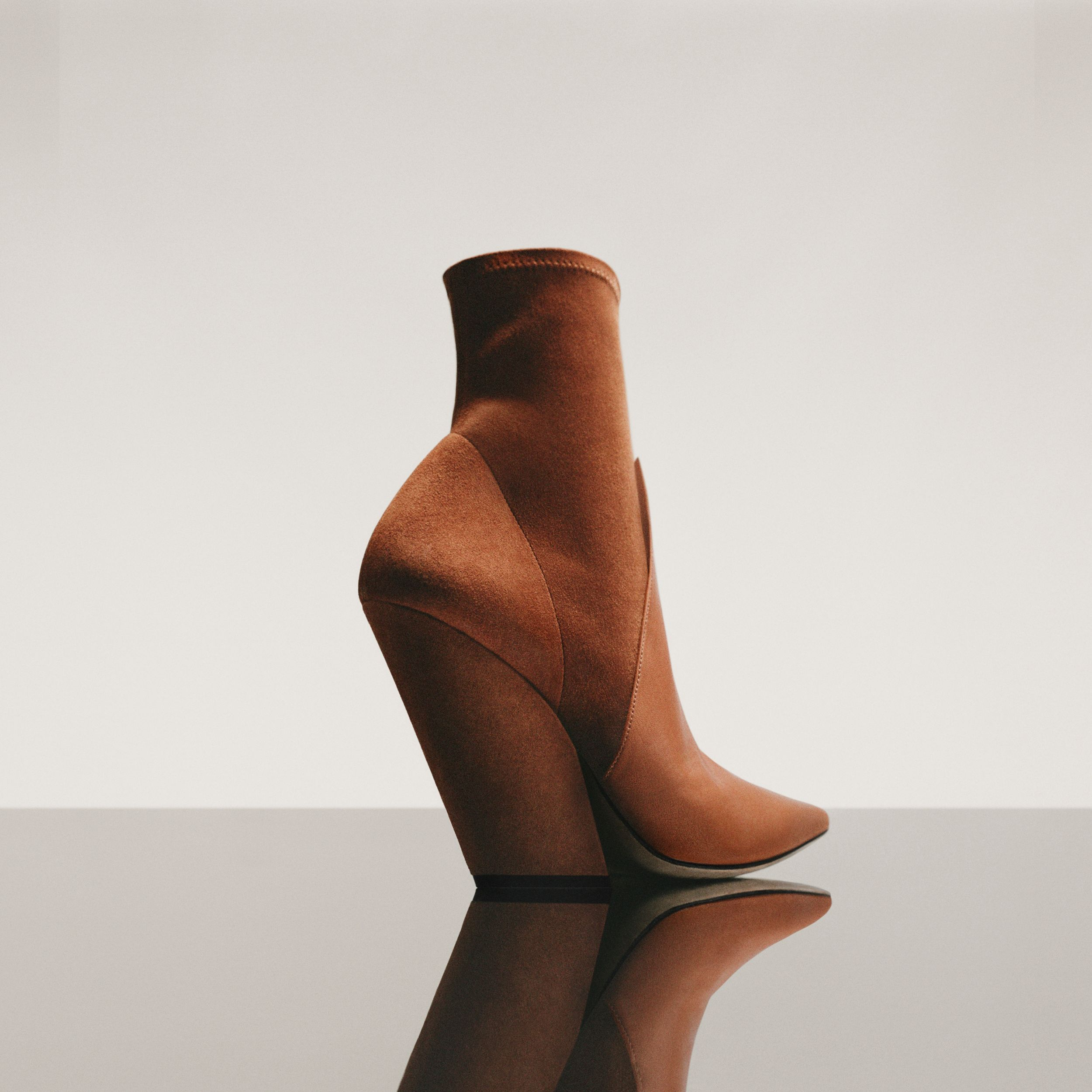 Panelled Suede and Lambskin Ankle Boots in Nutmeg - Women | Burberry United Kingdom - 2