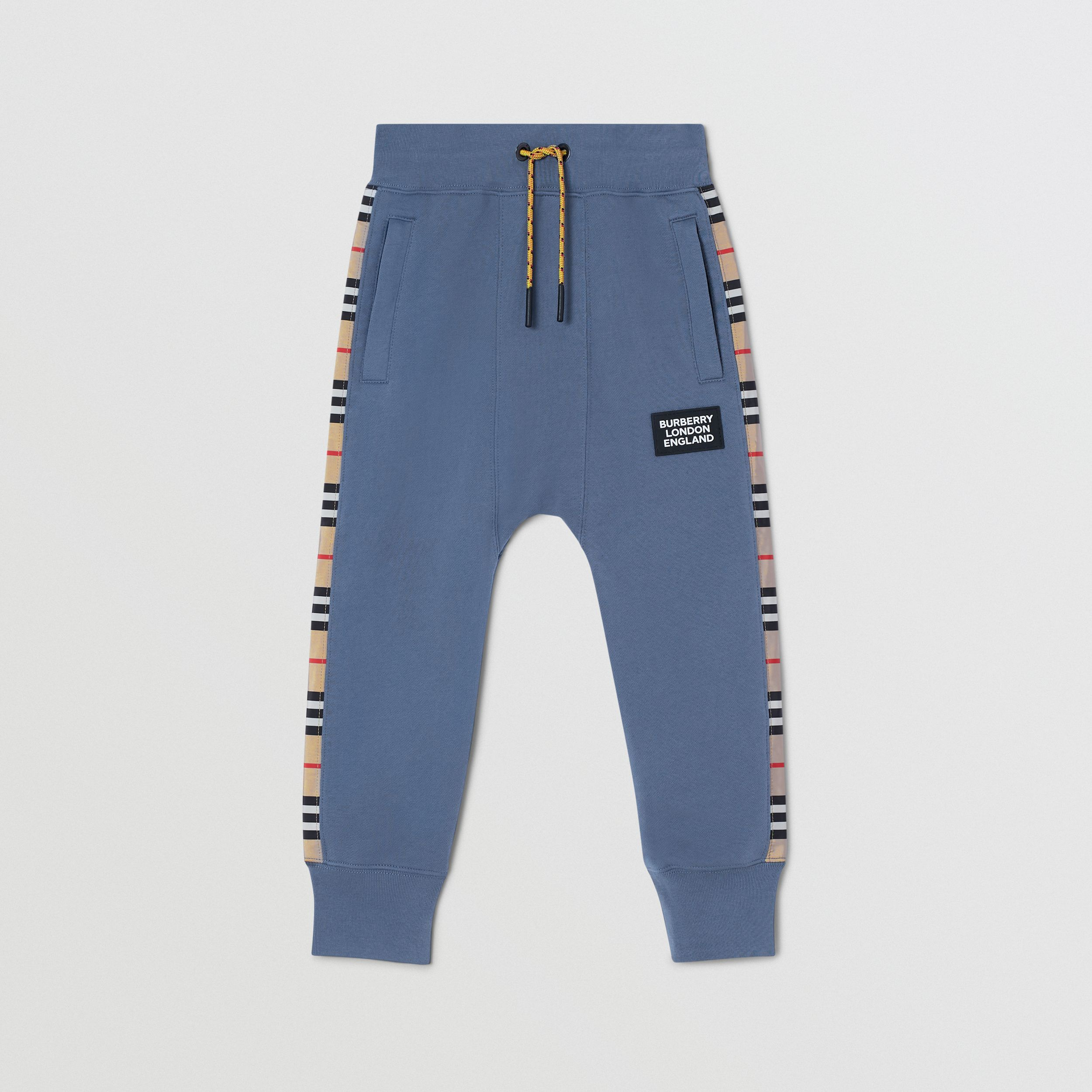 Icon Stripe Panel Cotton Jogging Pants in Steel Blue | Burberry Canada - 1