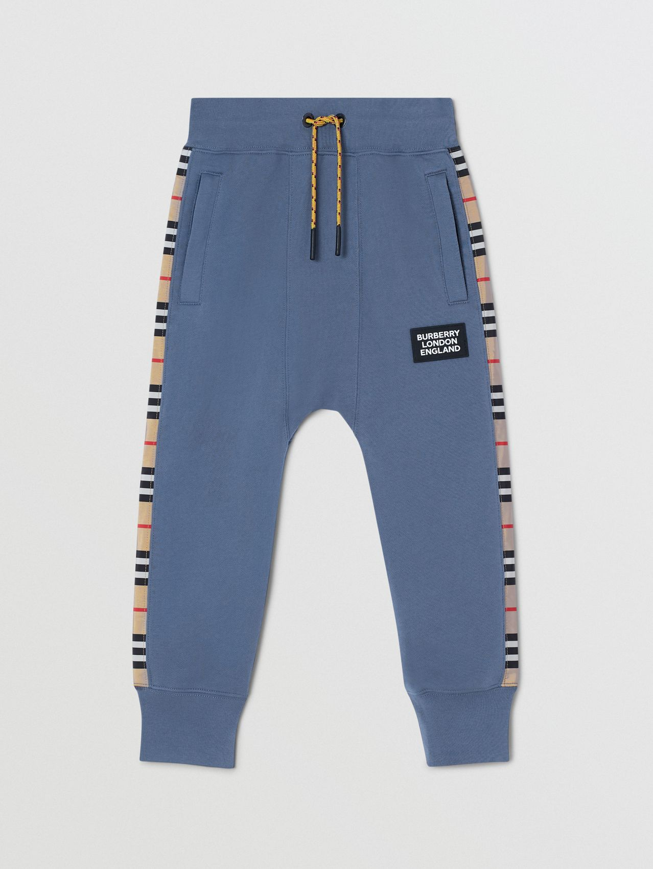 Icon Stripe Panel Cotton Trackpants in Steel Blue