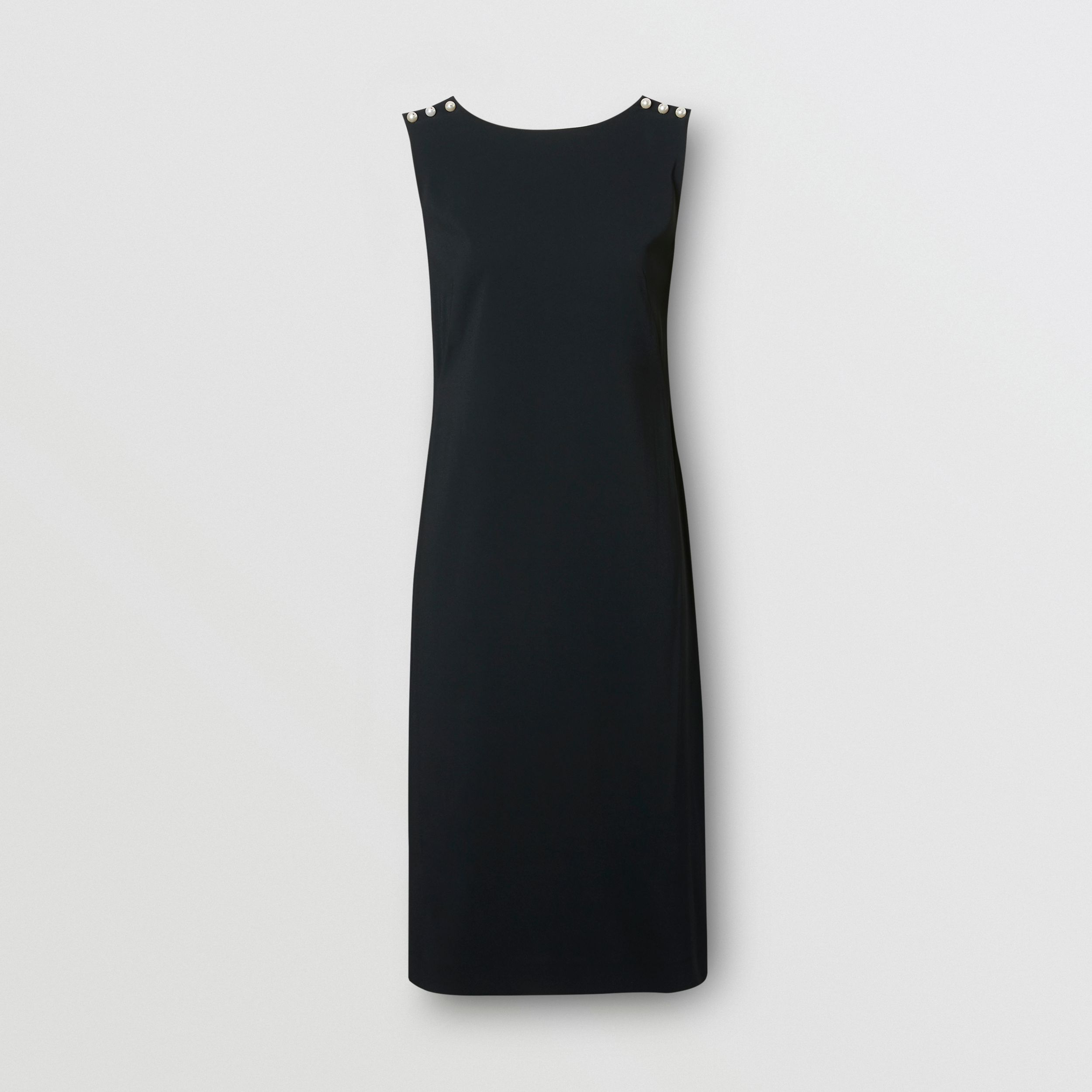Glass Pearl Detail Satin Crepe Shift Dress in Black - Women | Burberry - 4