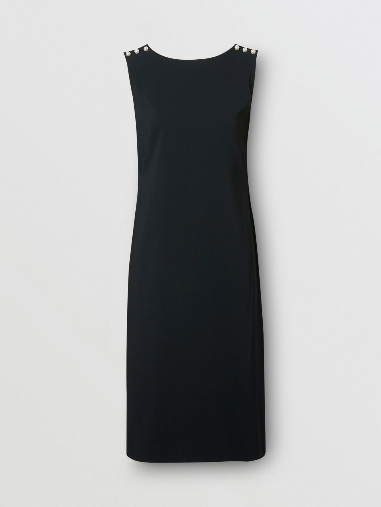 Glass Pearl Detail Satin Crepe Shift Dress in Black
