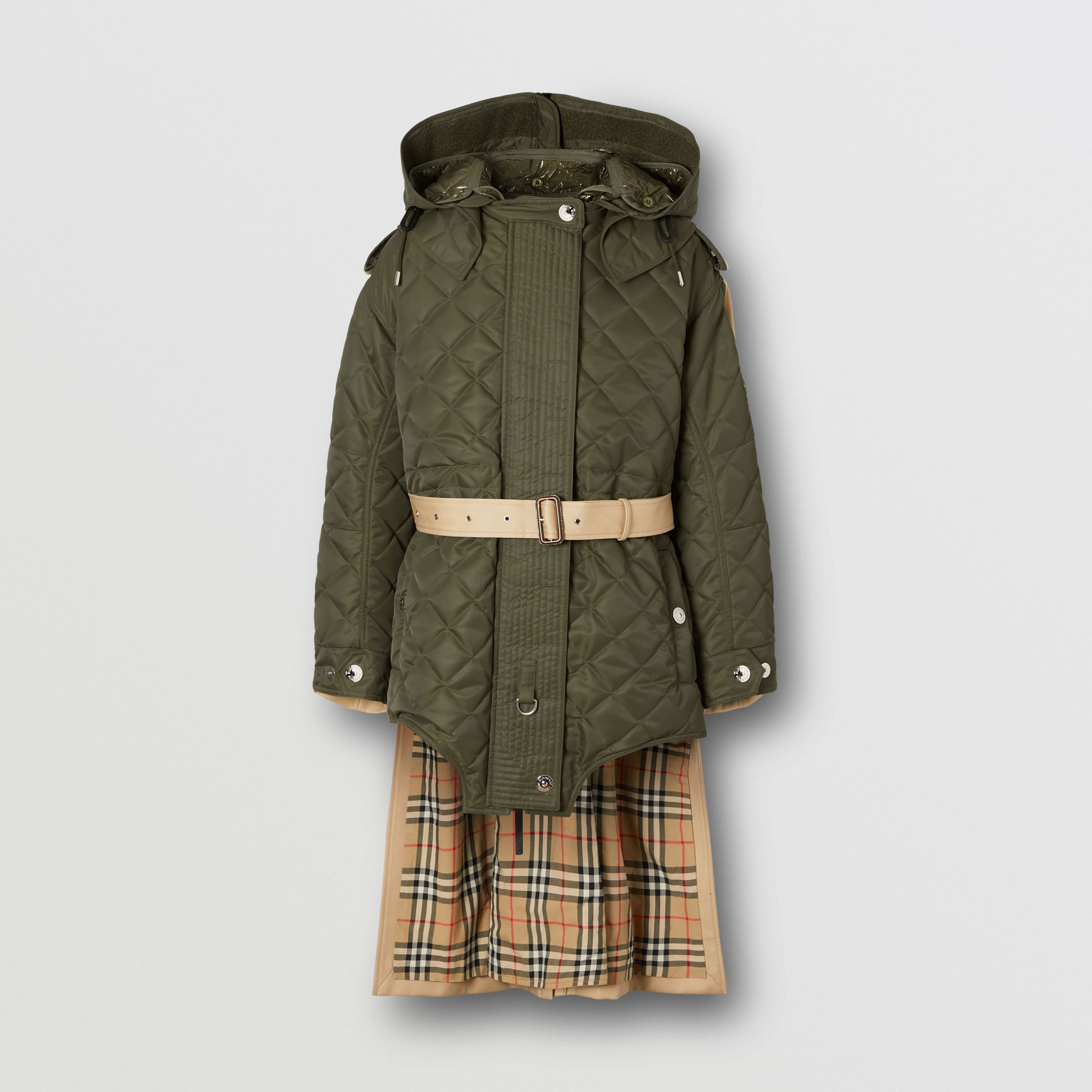 Detachable Hood Quilted Nylon and Cotton Parka in Olive Green | Burberry - 4