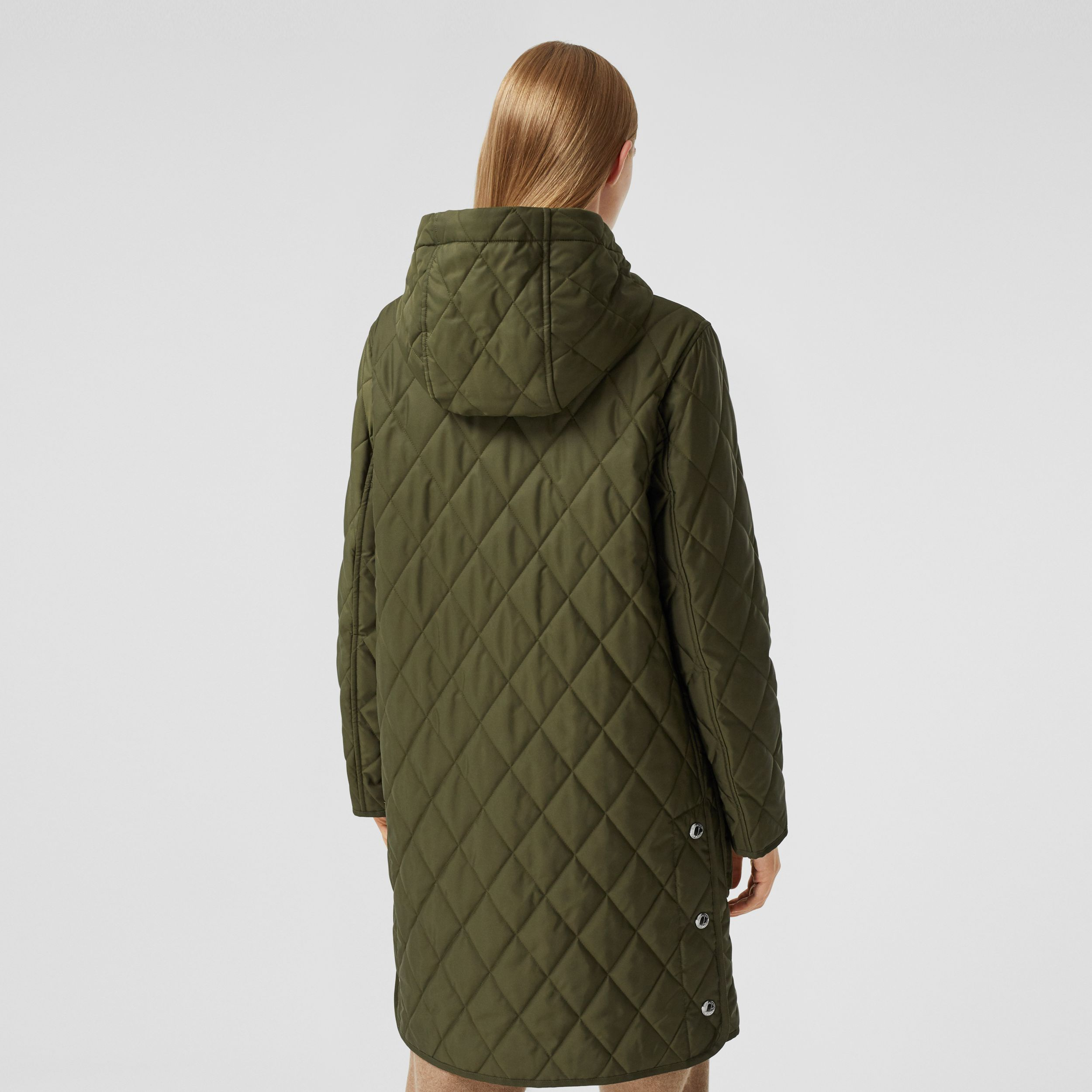 Diamond Quilted Thermoregulated Hooded Coat in Military Green - Women | Burberry - 3