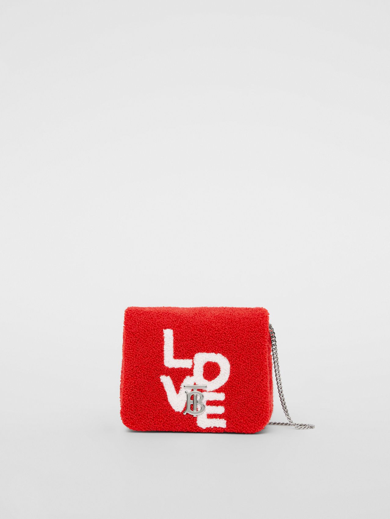 Micro Love Motif Towelling Lola Bag in Red/white