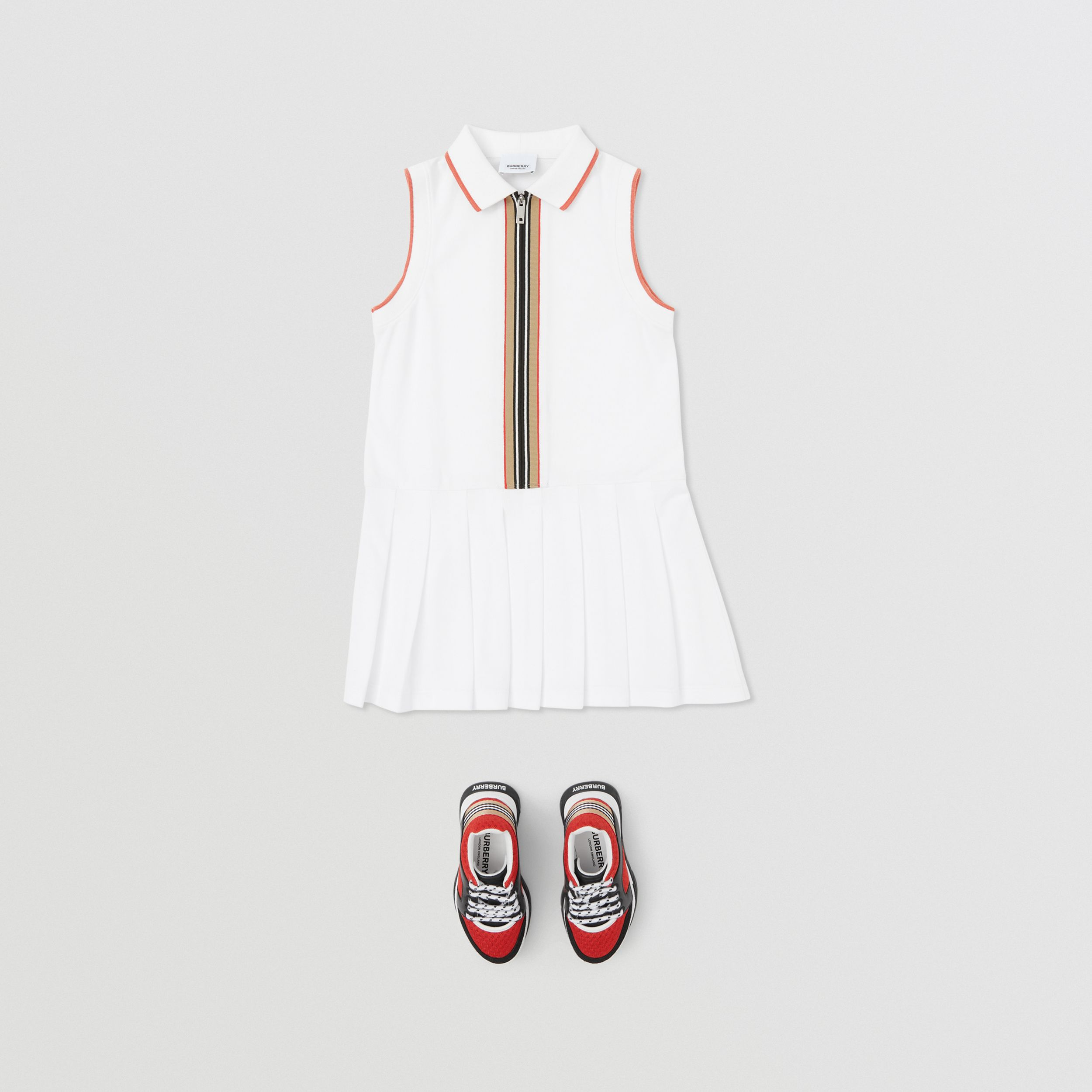 Icon Stripe Detail Cotton Zip-front Polo Dress in White | Burberry - 3