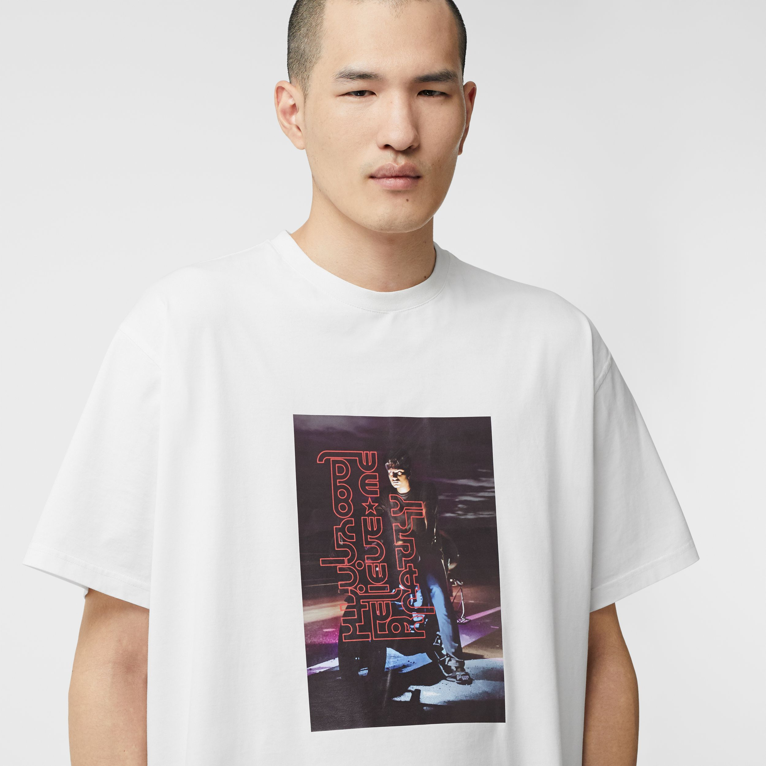 Photo Print Cotton T-shirt in Optic White | Burberry - 2