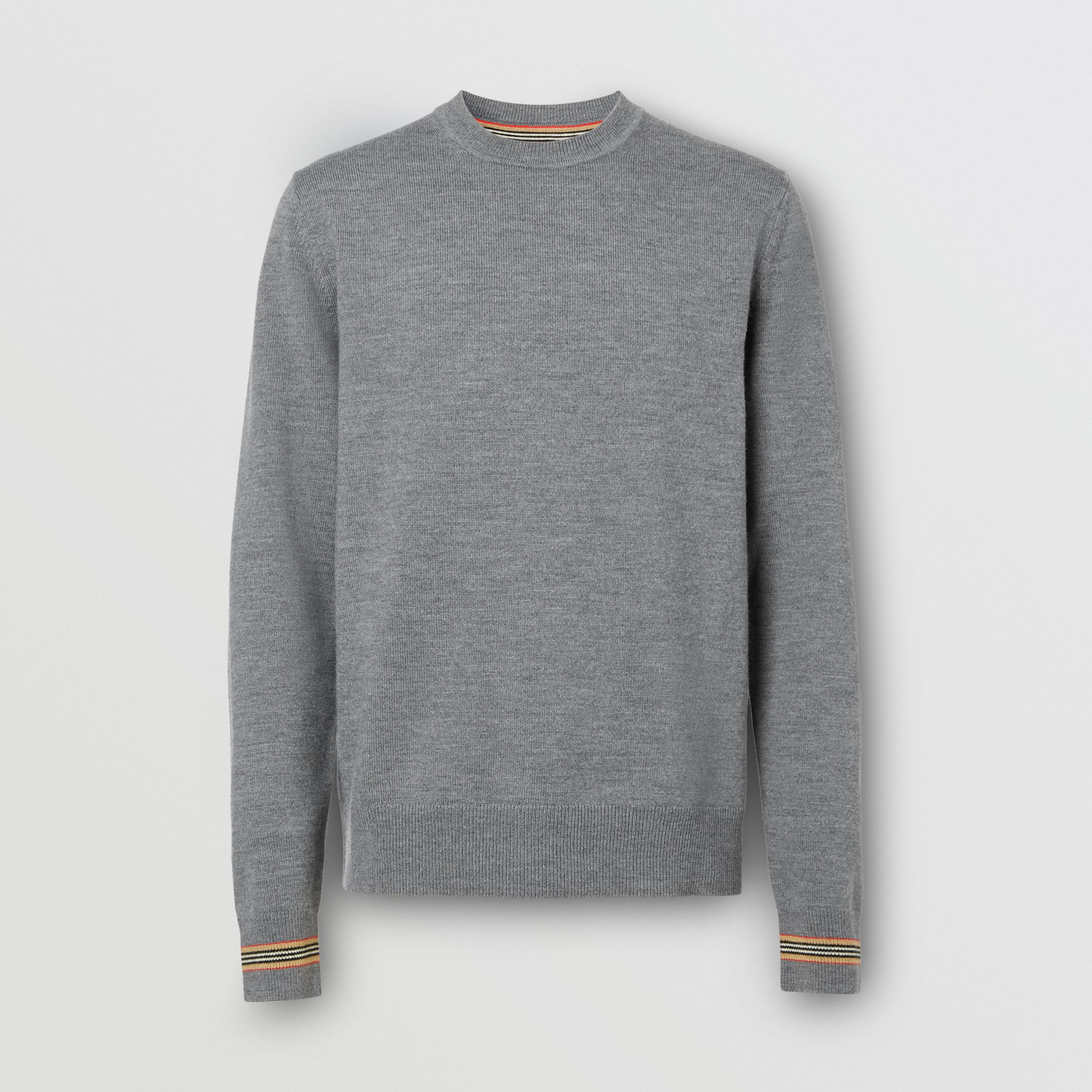 Icon Stripe Trim Merino Wool Sweater in Mid Grey Melange - Men | Burberry Australia - 4