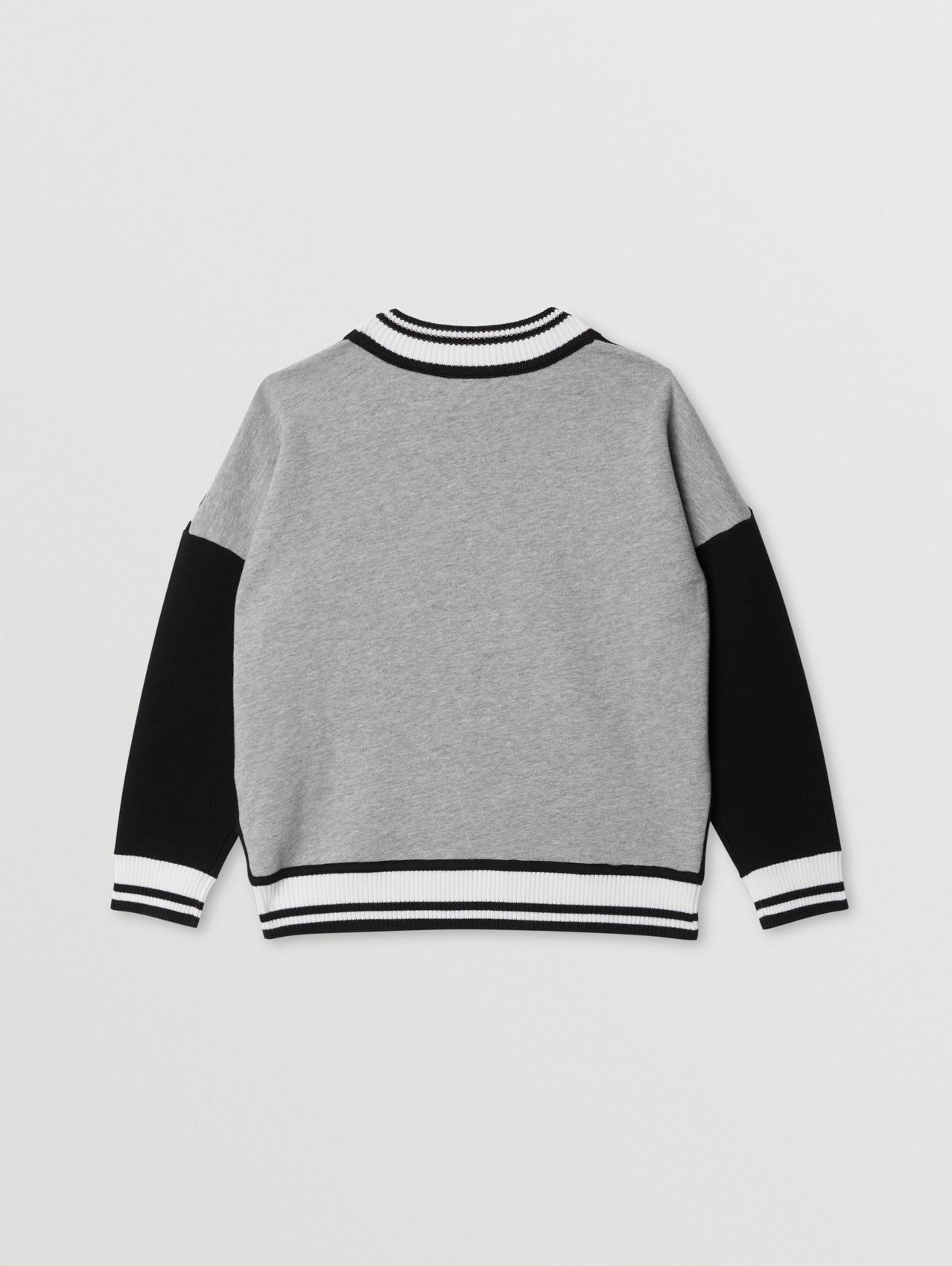 Icon Stripe Panel Wool Blend Sweater in Black