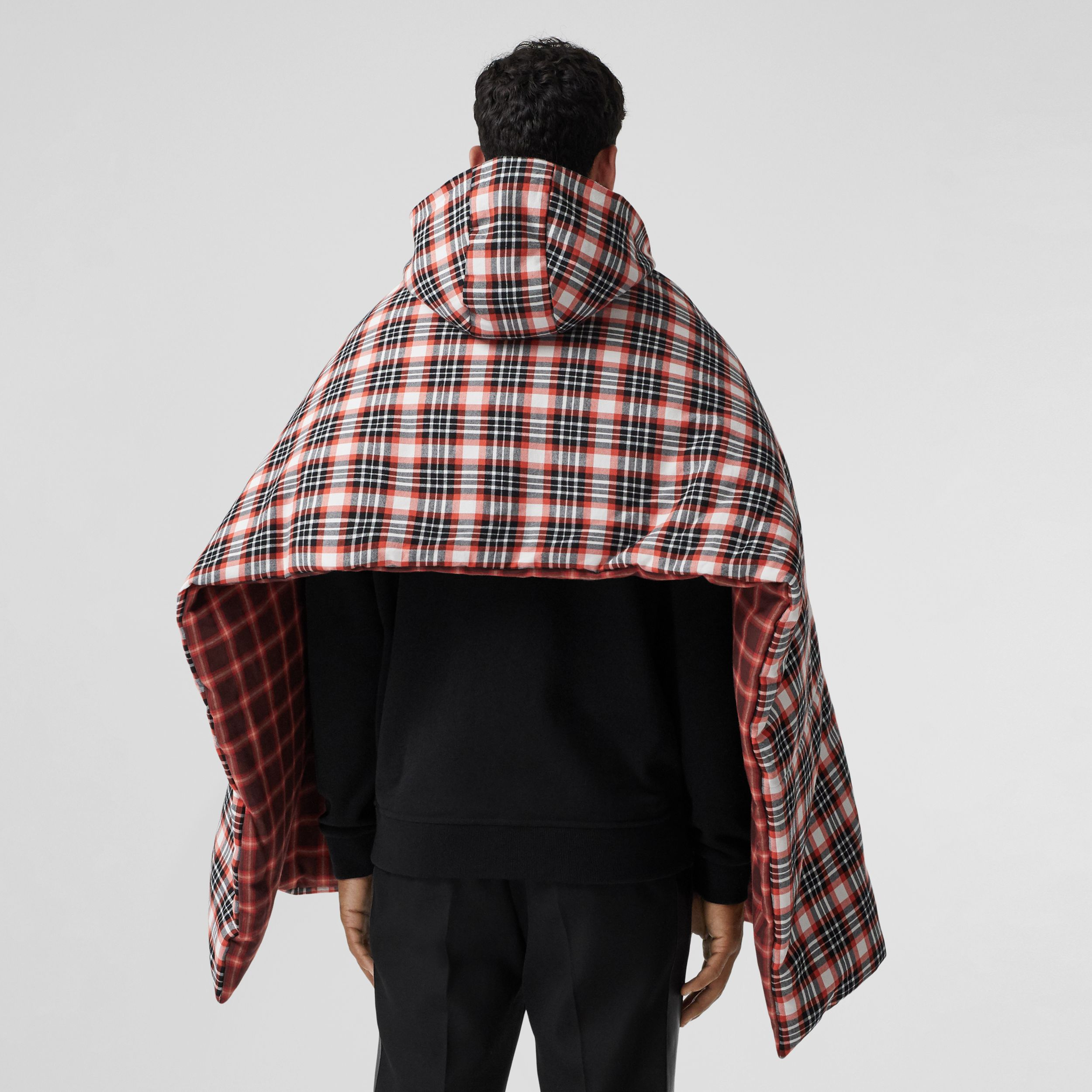 Reversible Tartan Cotton Puffer Poncho in Bright Red | Burberry - 3