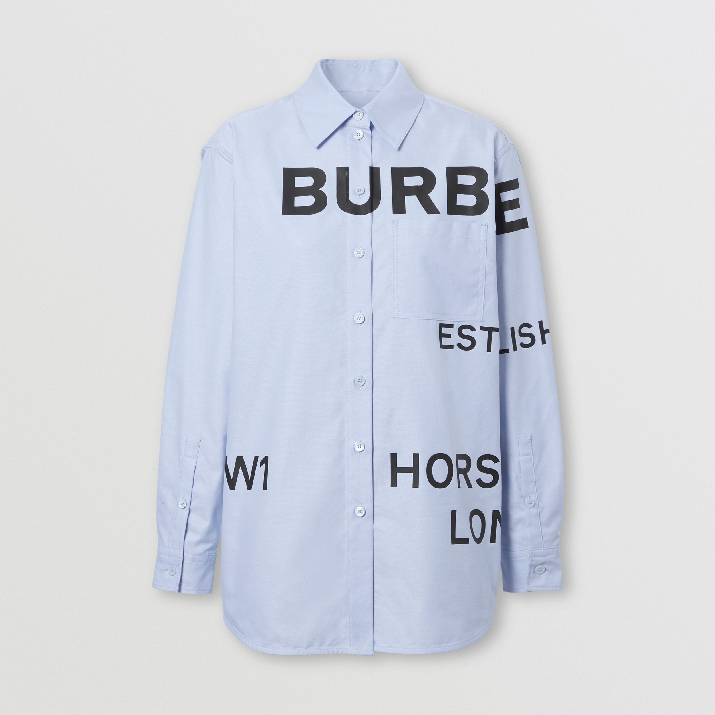 Horseferry Print Cotton Oxford Oversized Shirt in Pale Blue - Women | Burberry - 4