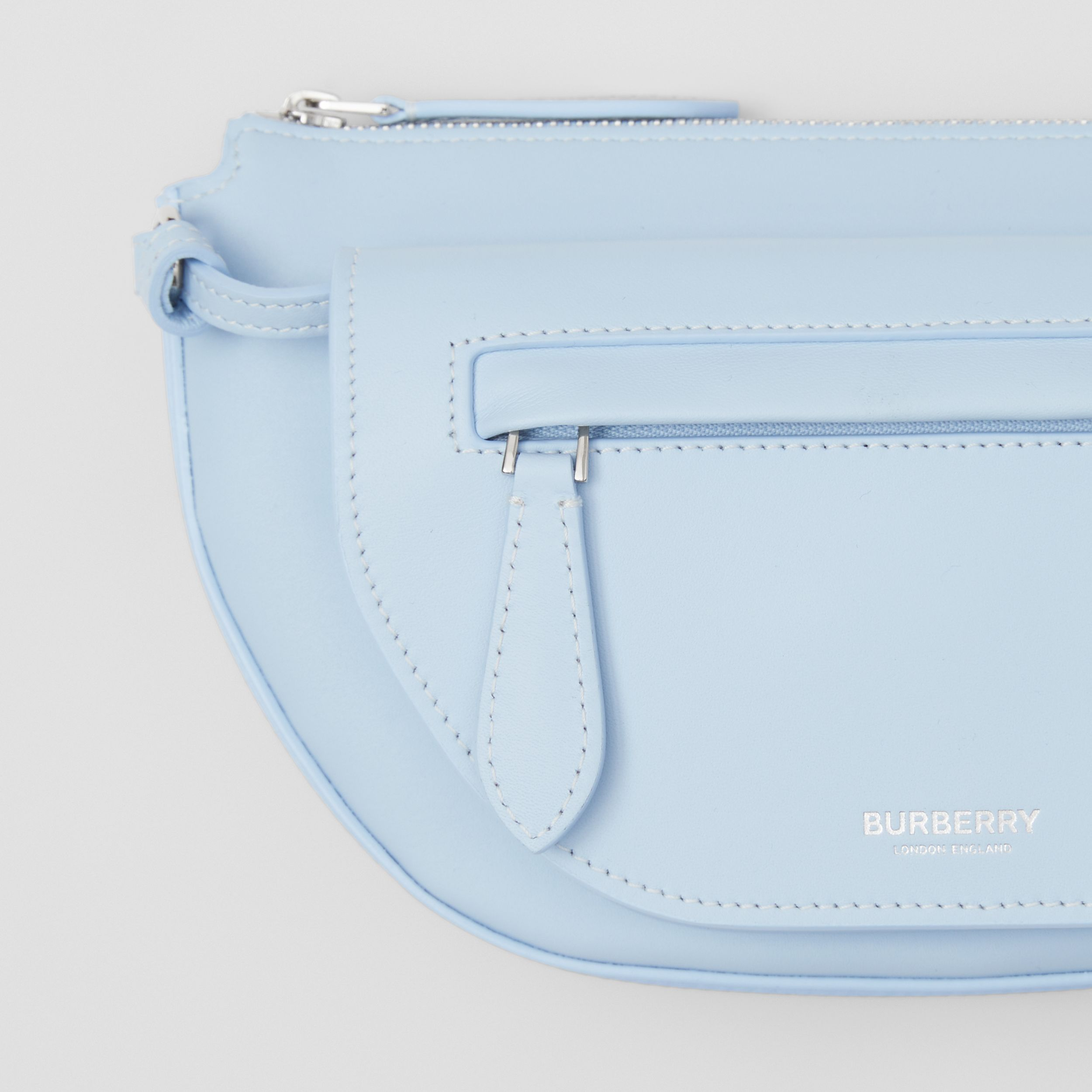 Mini Leather Double Olympia Bag in Pale Blue - Women | Burberry - 2