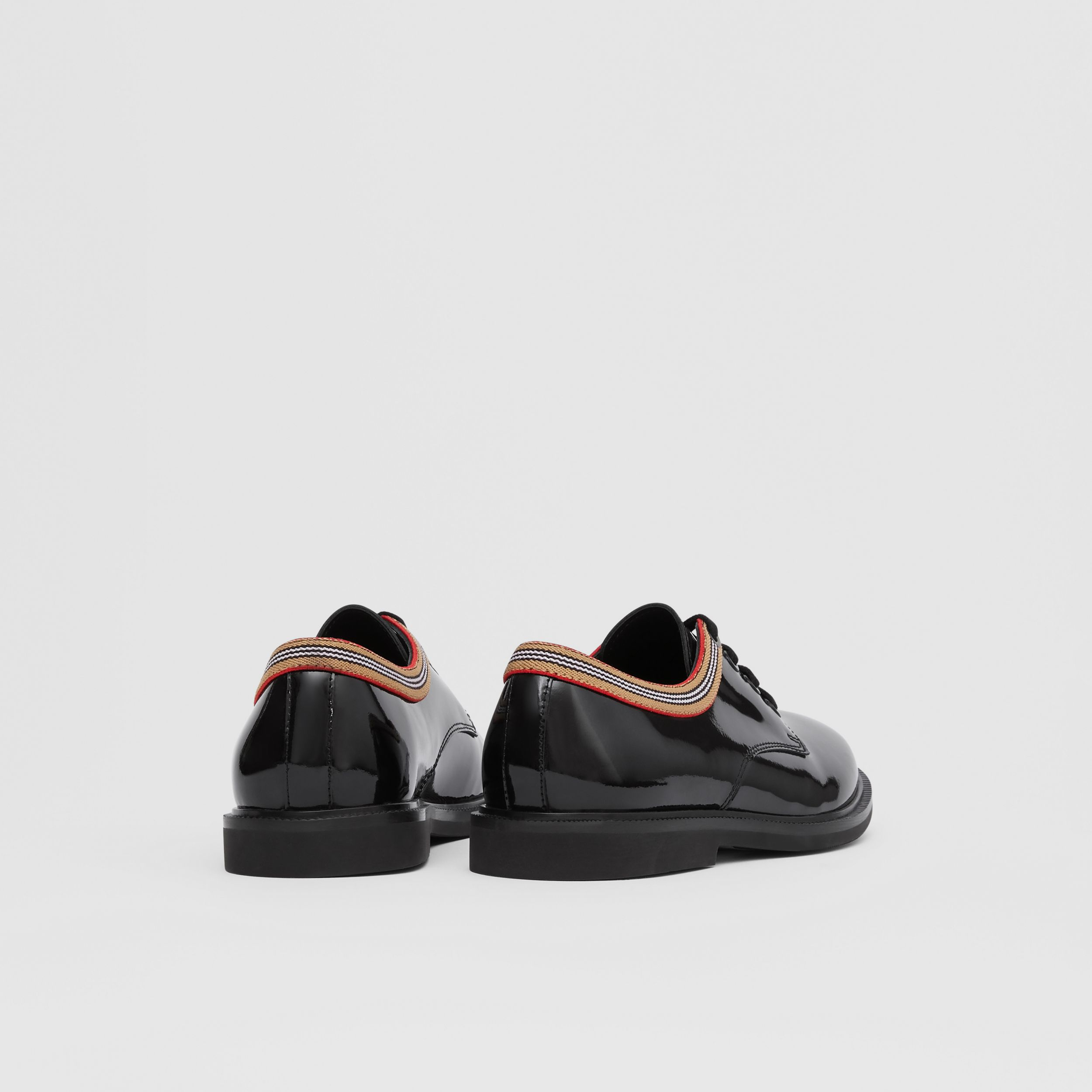Icon Stripe Trim Patent Leather Shoes in Black - Children | Burberry - 3