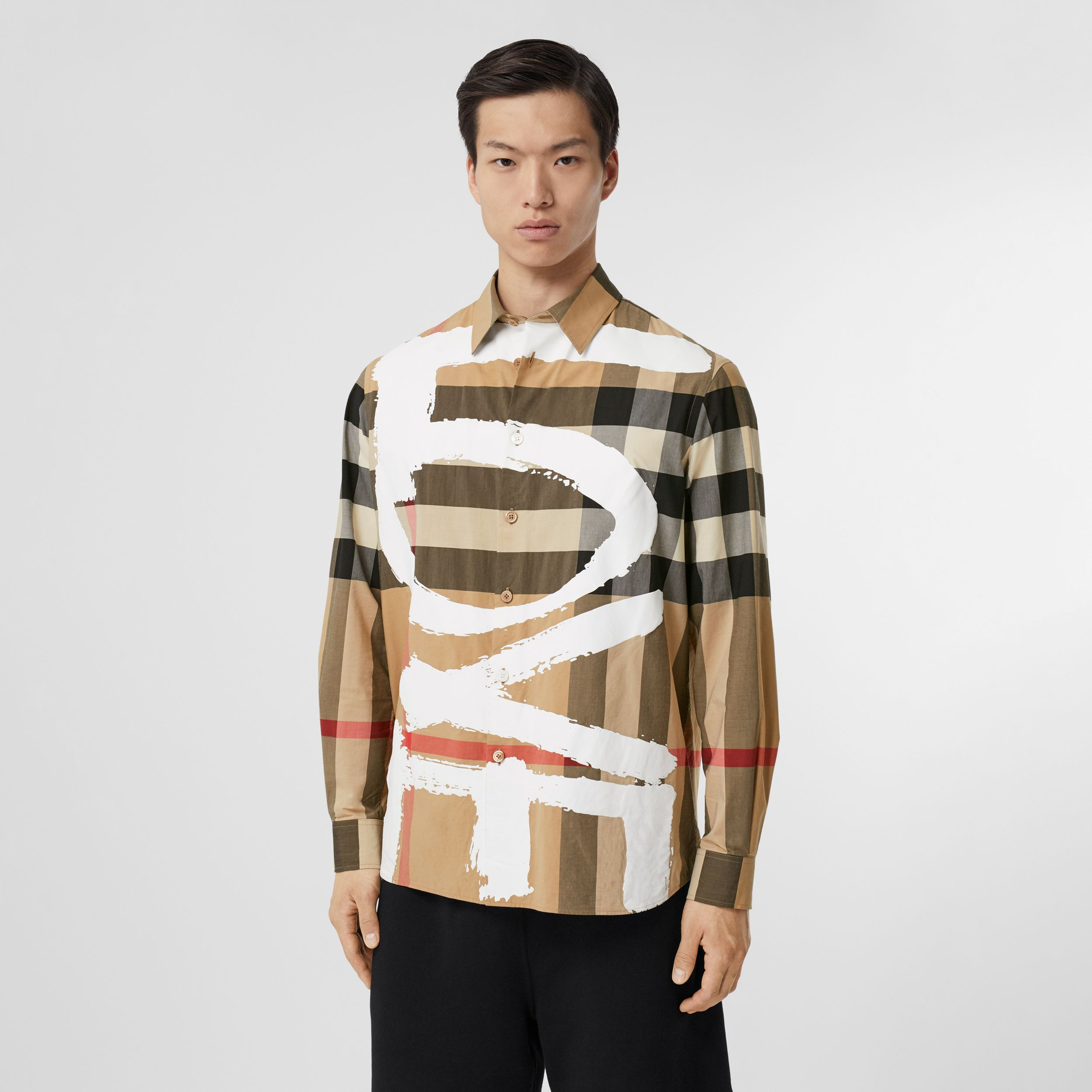 Love Print Check Stretch Cotton Oversized Shirt in Archive Beige - Men | Burberry - 1