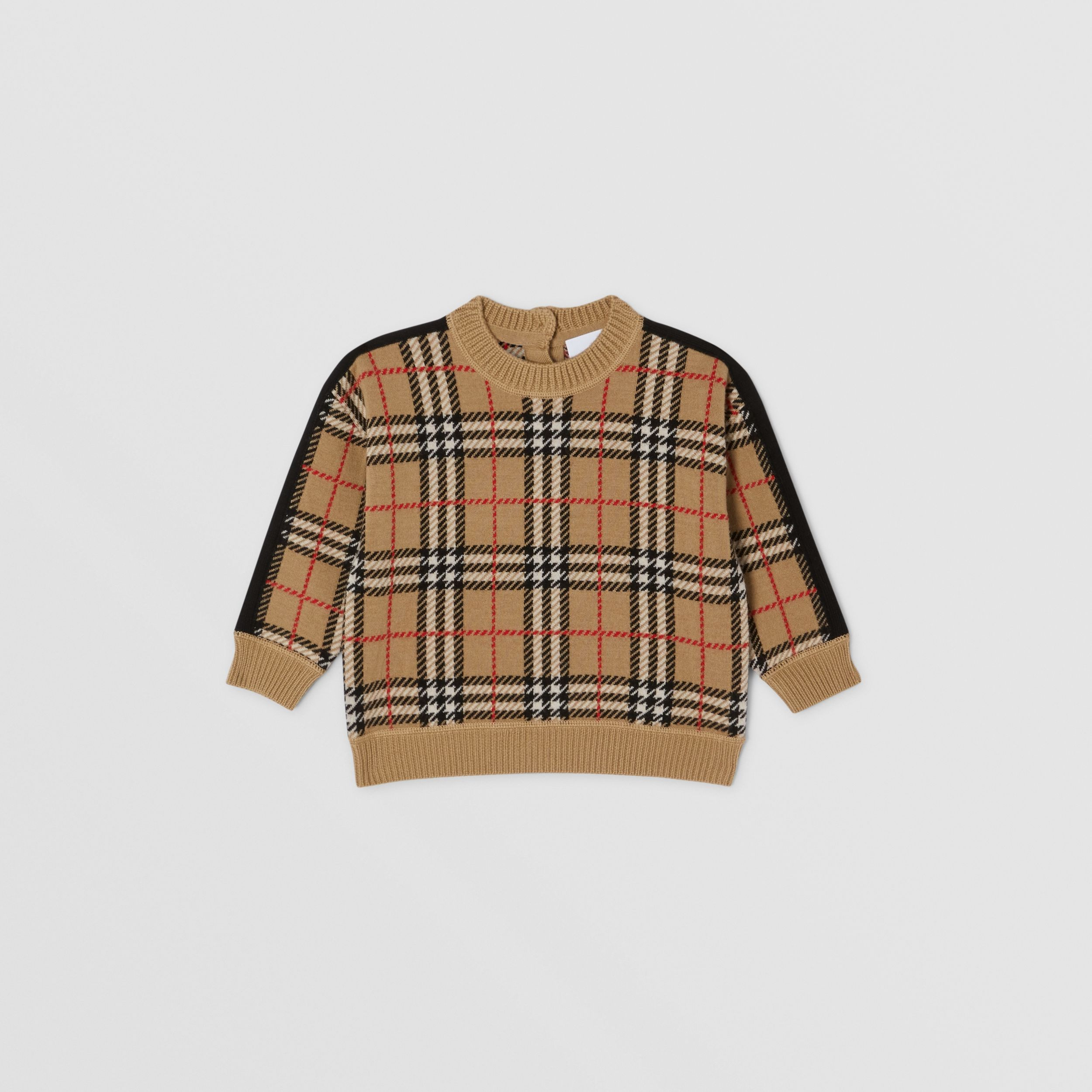 Check Merino Wool Jacquard Sweater in Archive Beige - Children | Burberry - 1