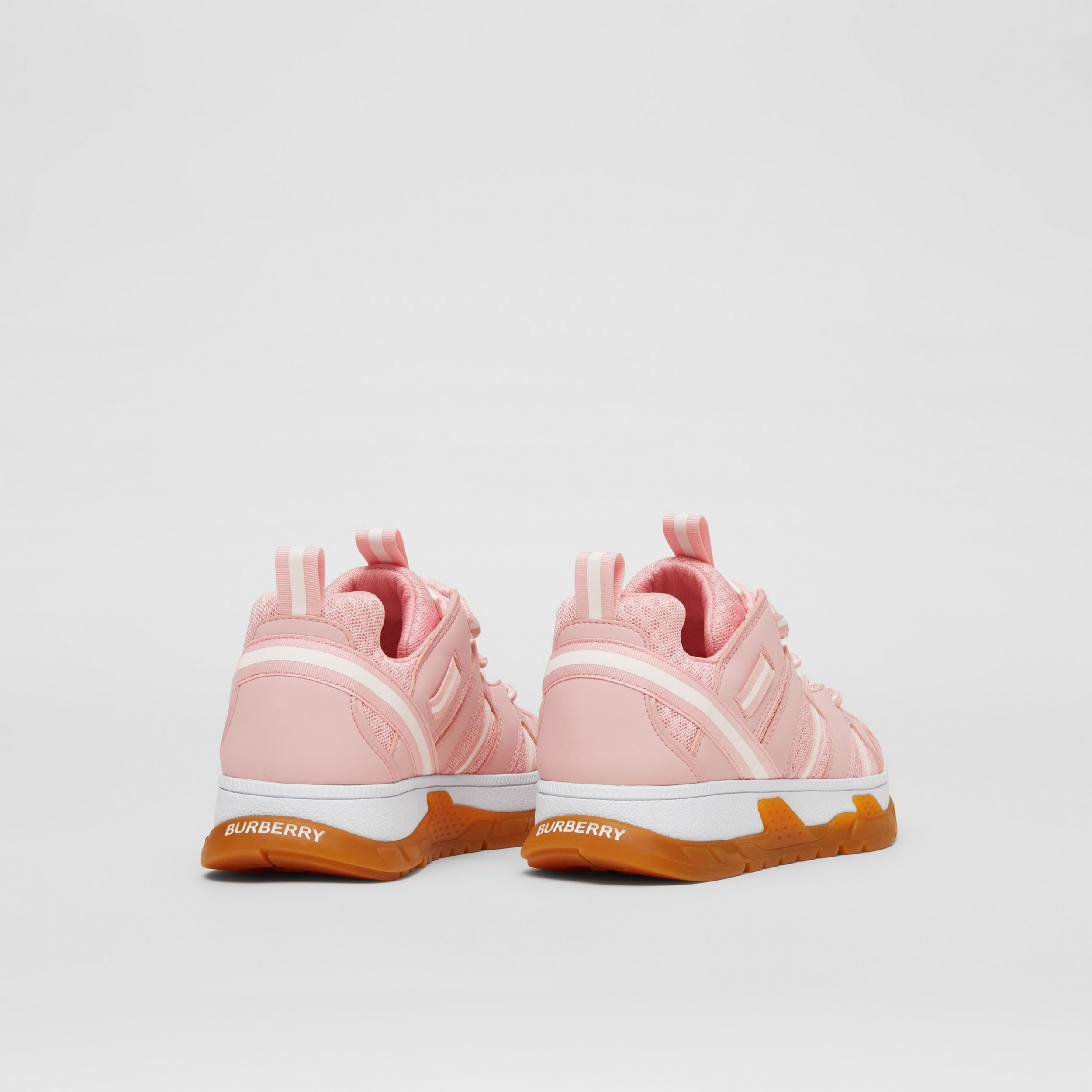 Nylon and Mesh Union Sneakers in Candy Pink - Children | Burberry - 3