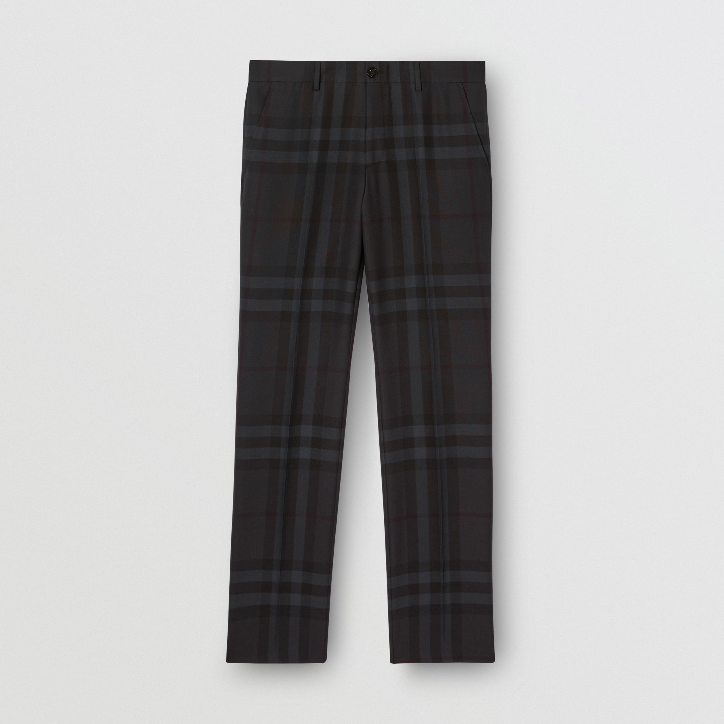 Classic Fit Check Wool Tailored Trousers in Charcoal - Men | Burberry - 4