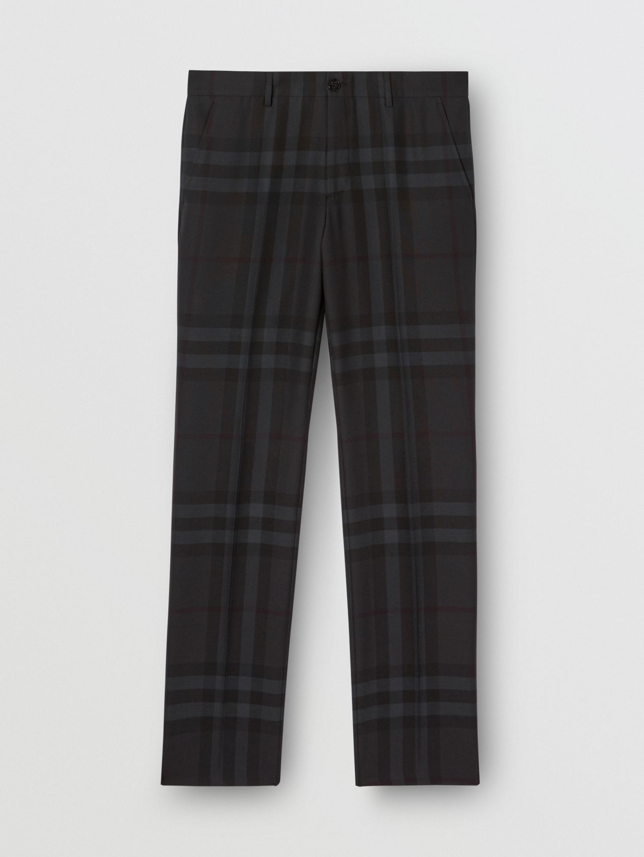 Classic Fit Check Wool Tailored Trousers in Charcoal