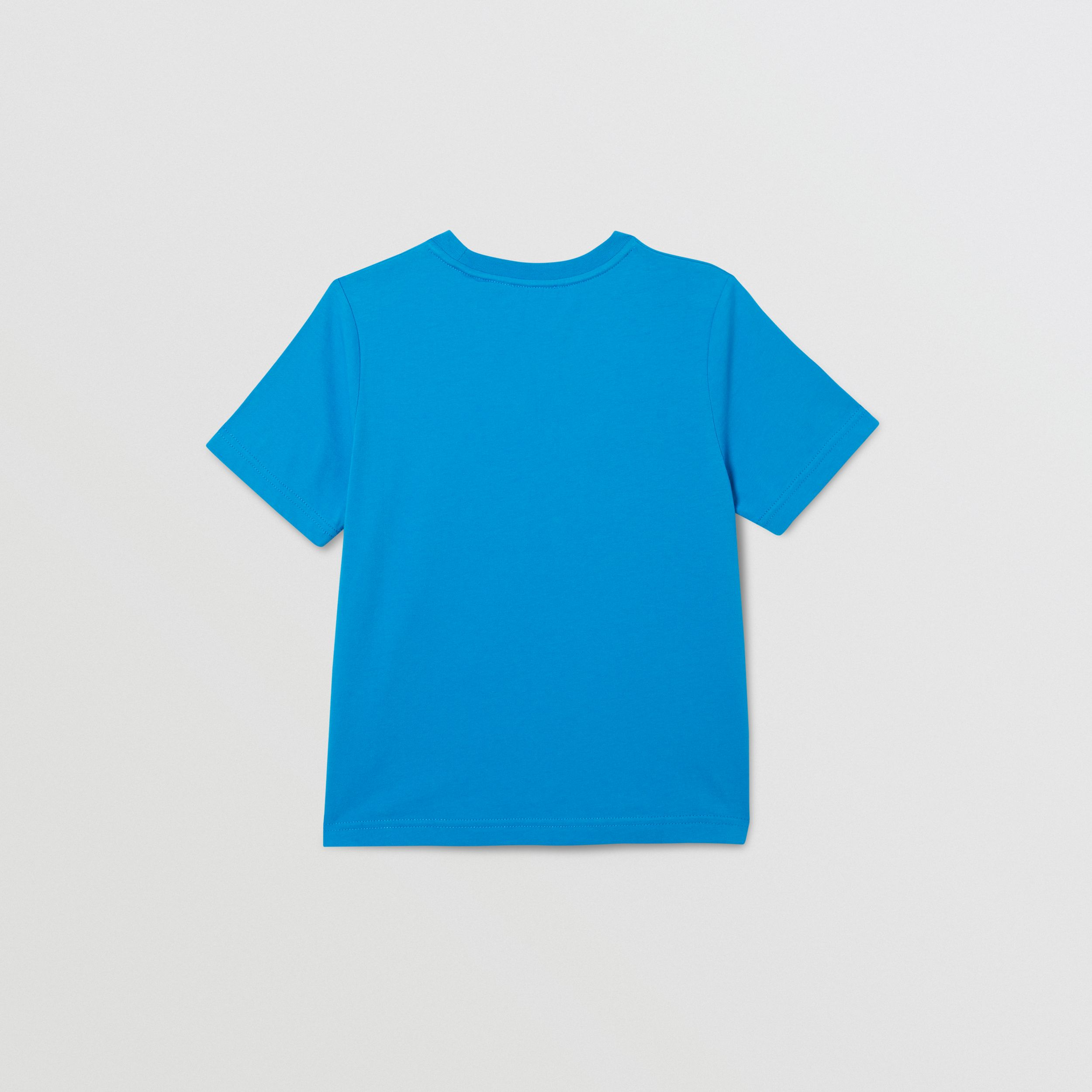 Logo Graphic Print Cotton T-shirt in Cerulean Blue | Burberry Australia - 4