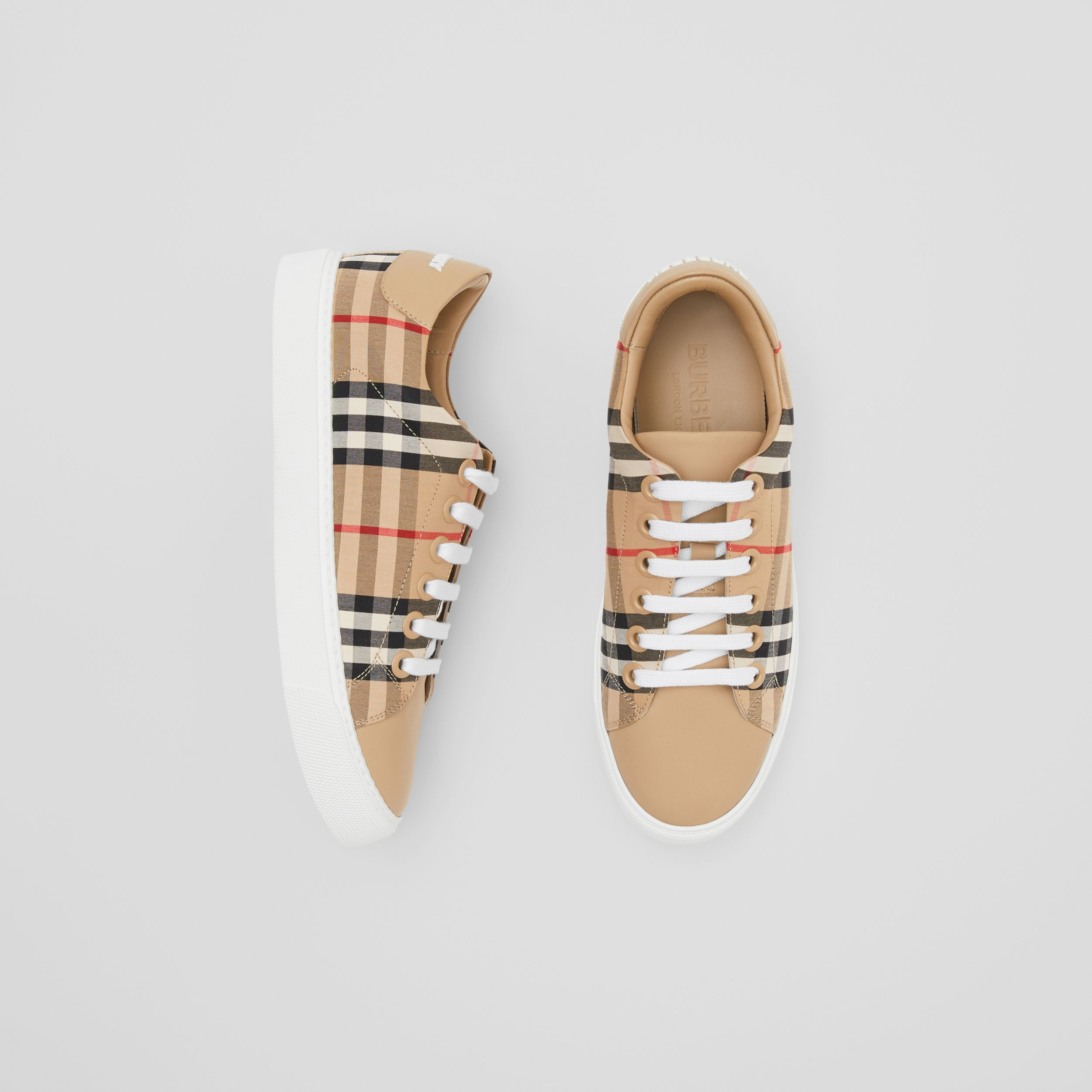 Vintage Check and Leather Sneakers in Archive Beige - Women | Burberry - 1