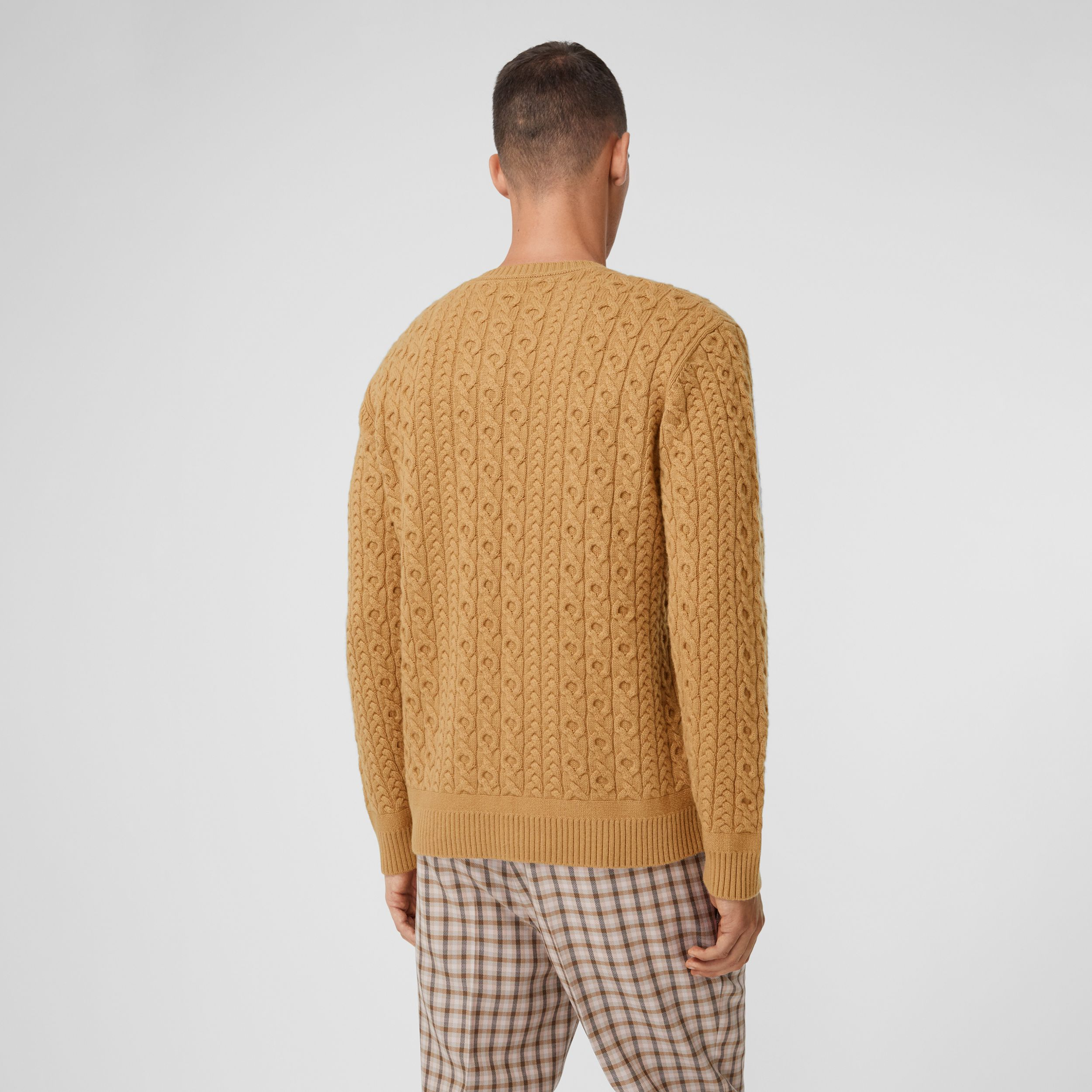 Cable Knit Wool Cashmere Sweater in Camel - Men | Burberry - 3