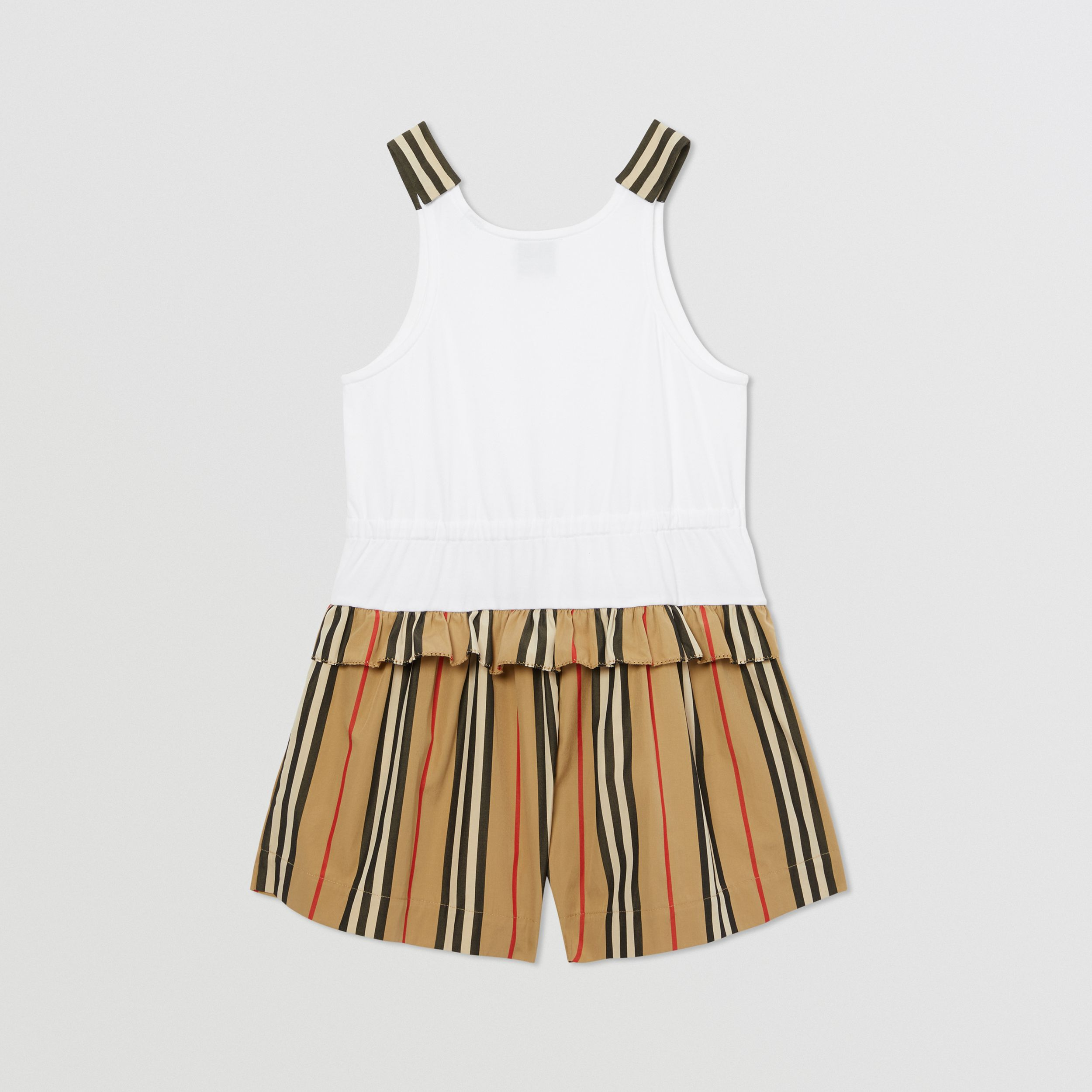 Monogram Motif Icon Stripe Detail Cotton Playsuit in Archive Beige | Burberry United Kingdom - 4