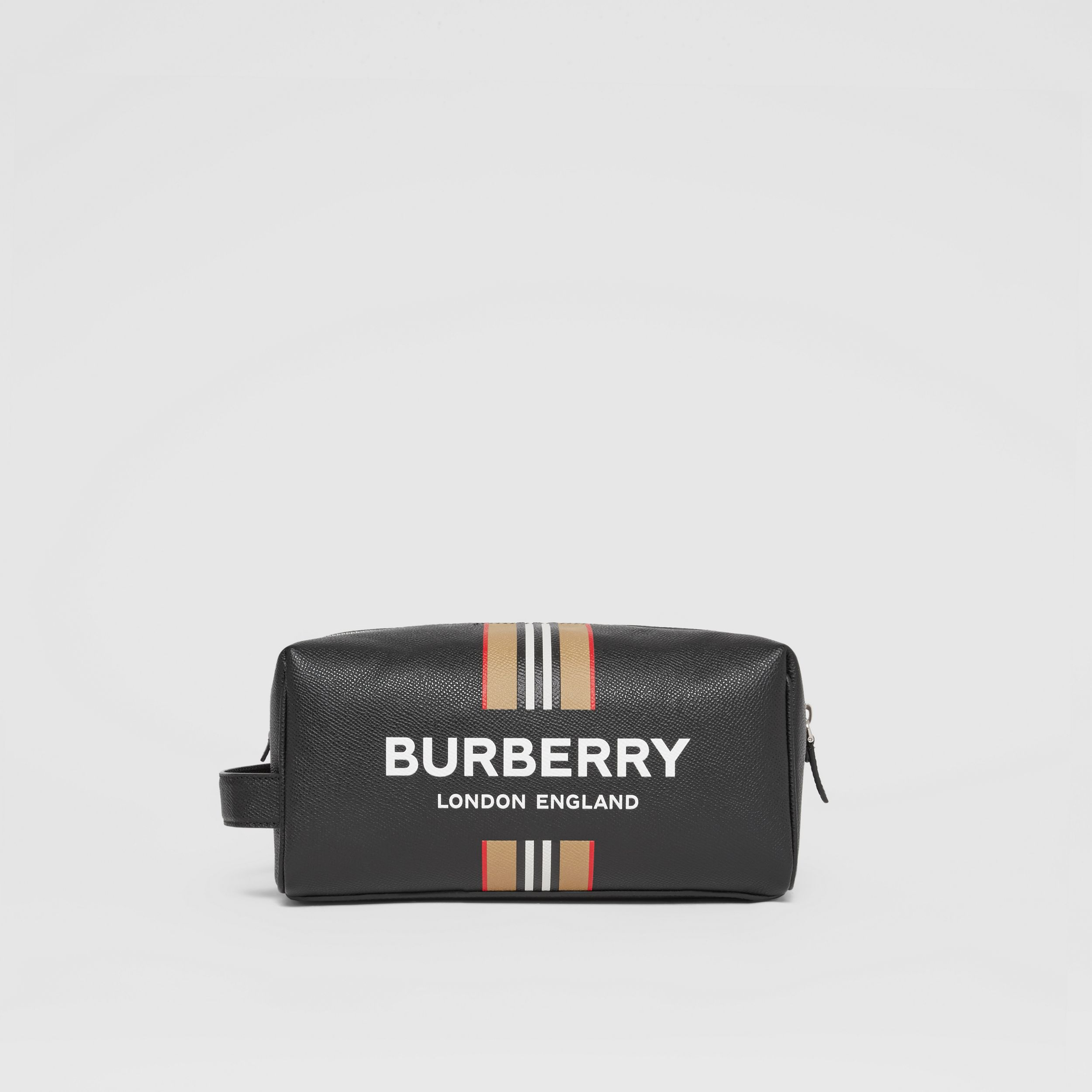 Logo and Icon Stripe Print Leather Travel Pouch in Black - Men | Burberry United States - 1