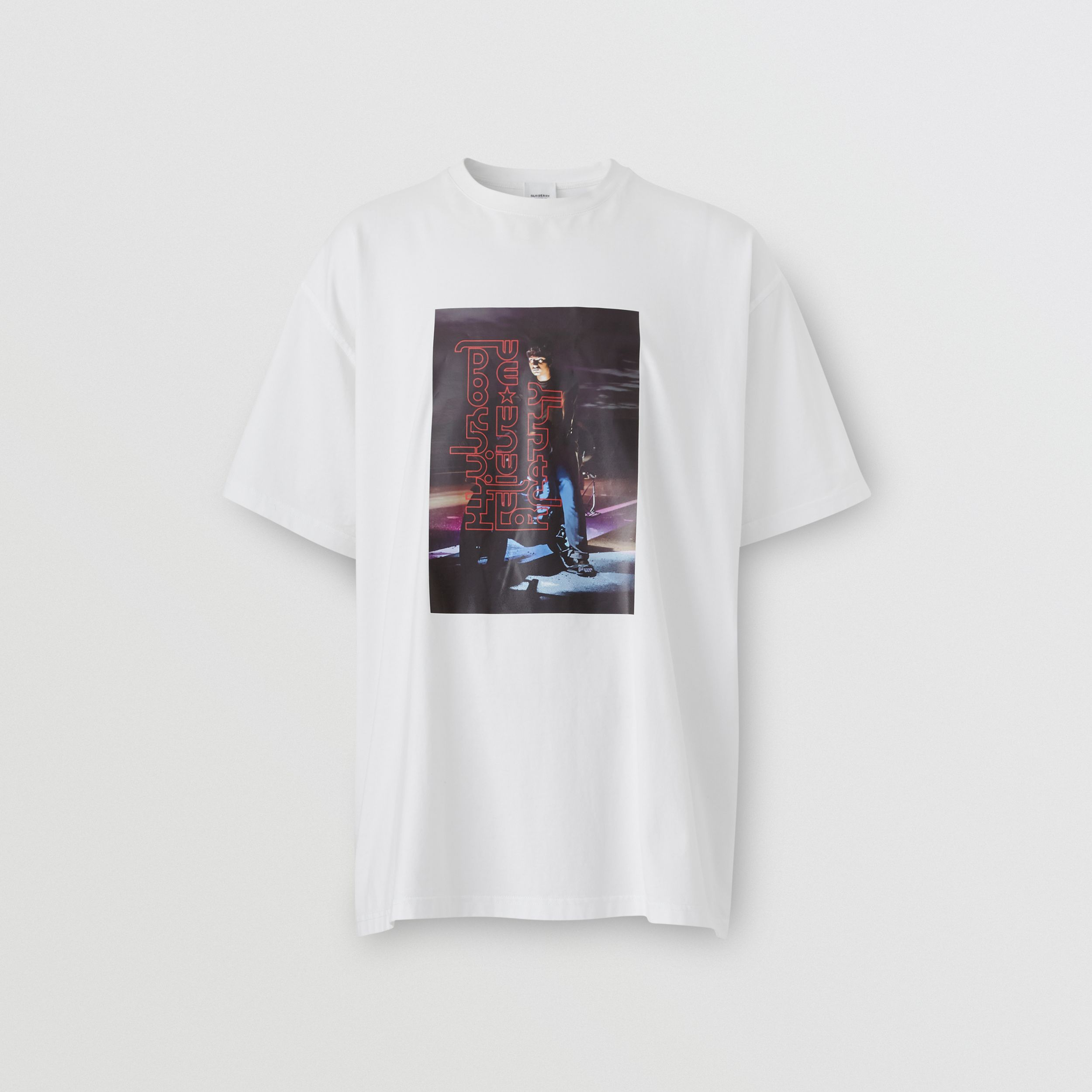 Photo Print Cotton T-shirt in Optic White | Burberry - 4