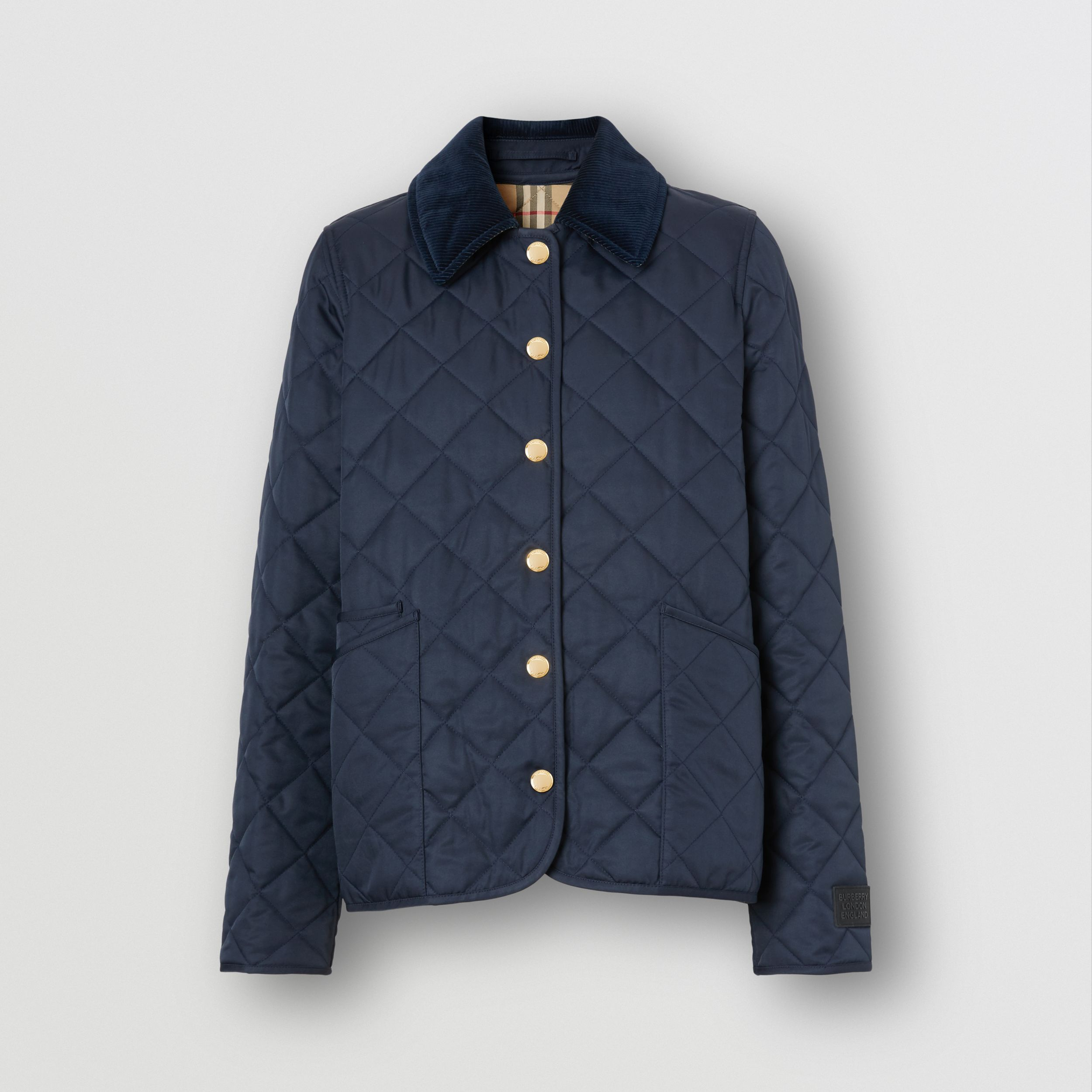 Corduroy Collar Diamond Quilted Jacket in Midnight - Women | Burberry Australia - 4