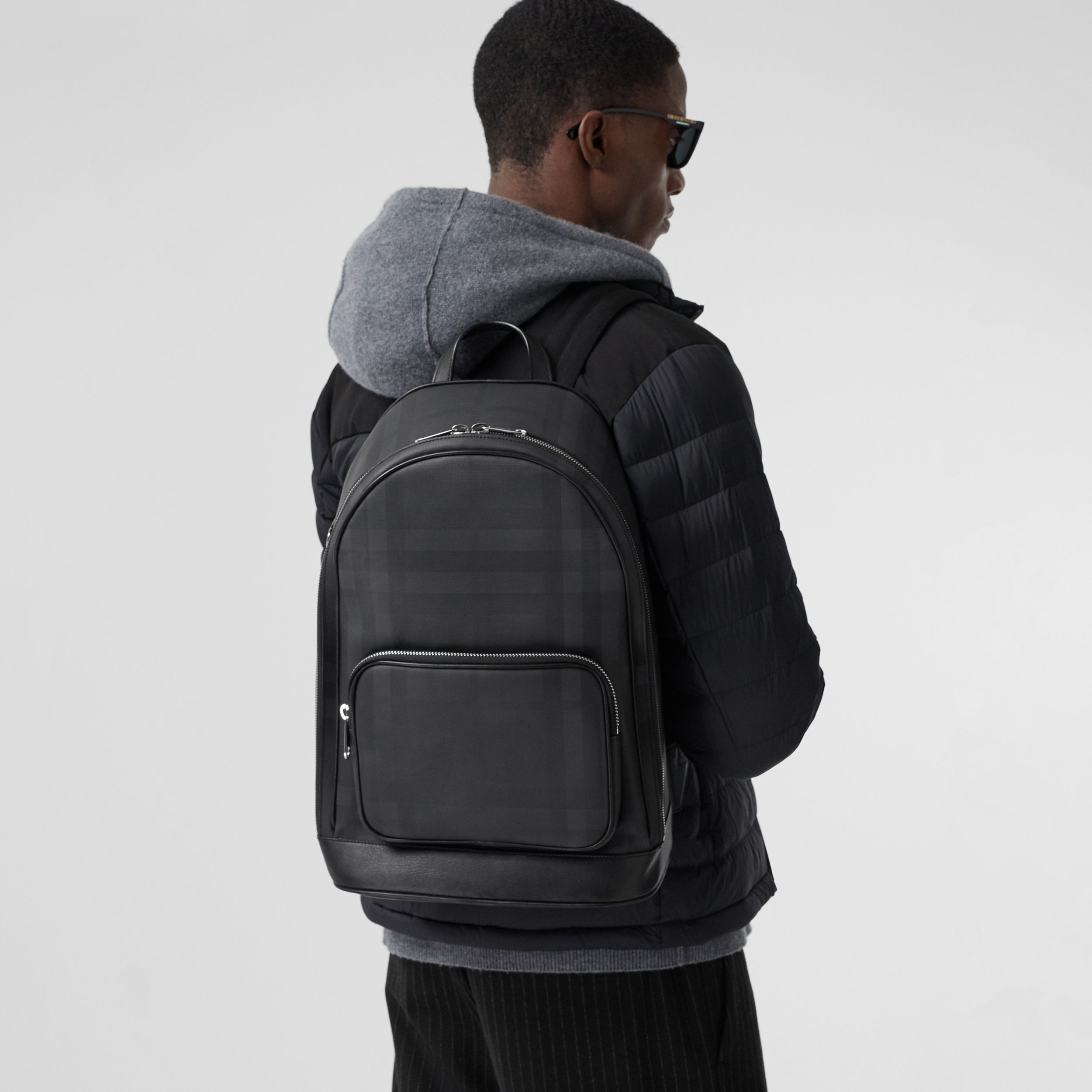 London Check and Leather Backpack in Dark Charcoal - Men | Burberry Australia - 4