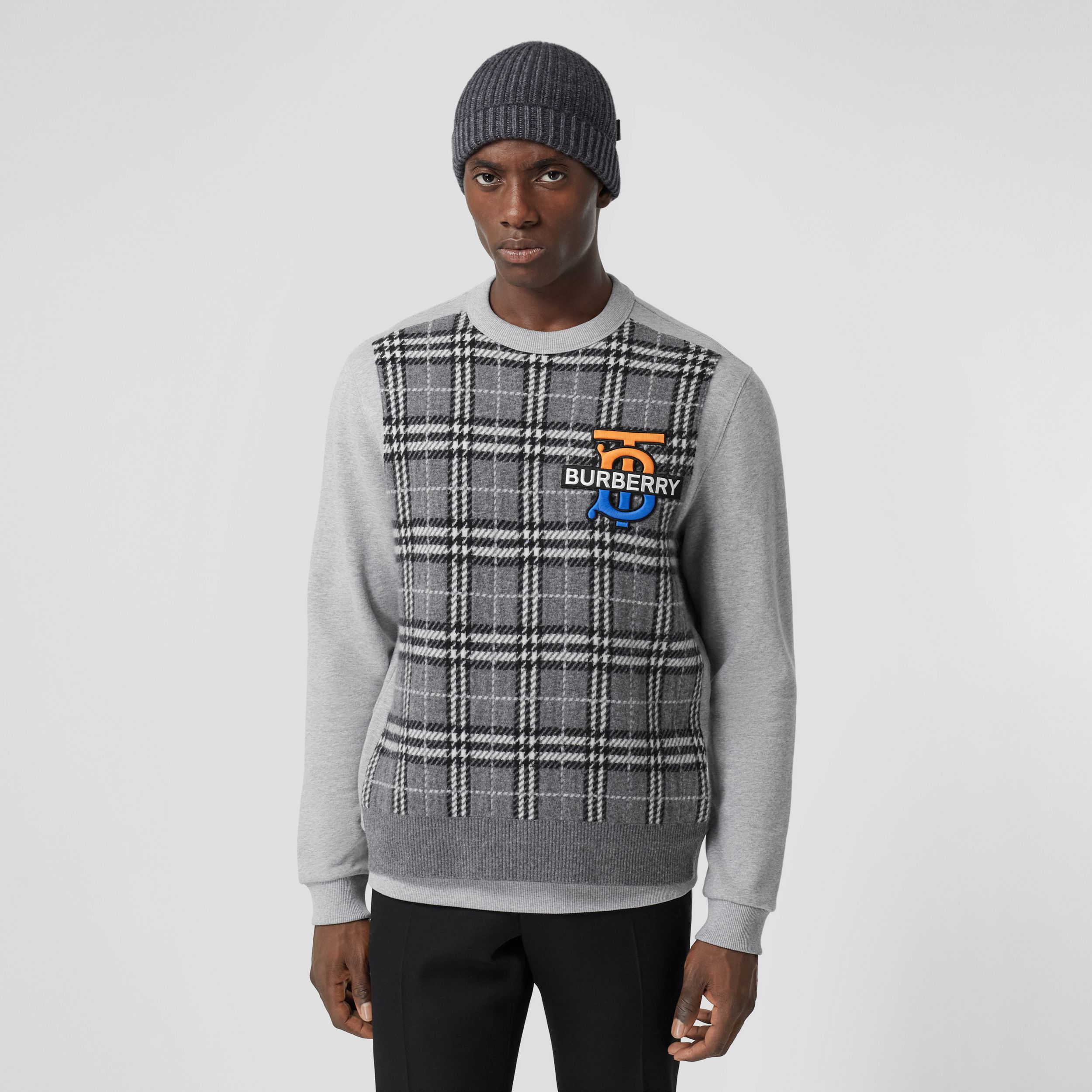 Monogram Motif Check Cashmere Panel Sweatshirt in Pale Grey Melange - Men | Burberry - 1