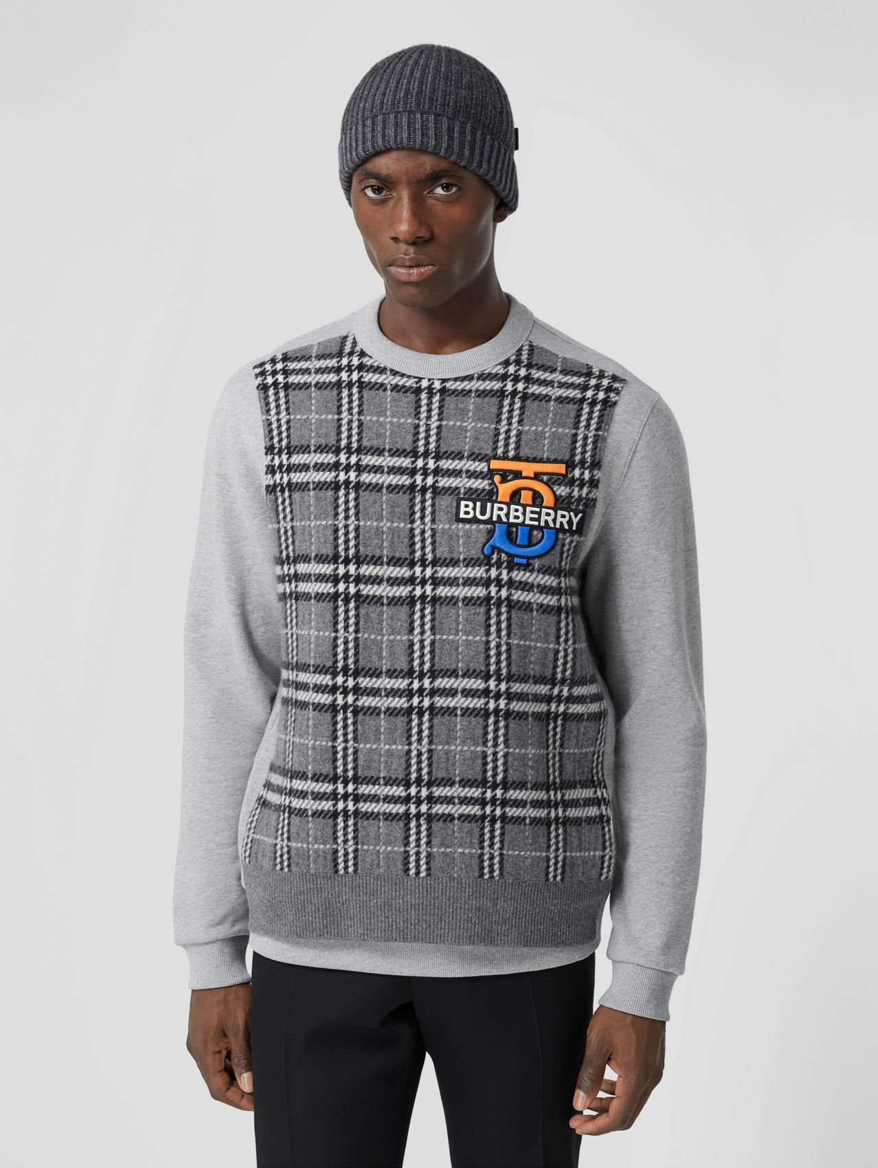 Monogram Motif Check Cashmere Panel Sweatshirt in Pale Grey Melange