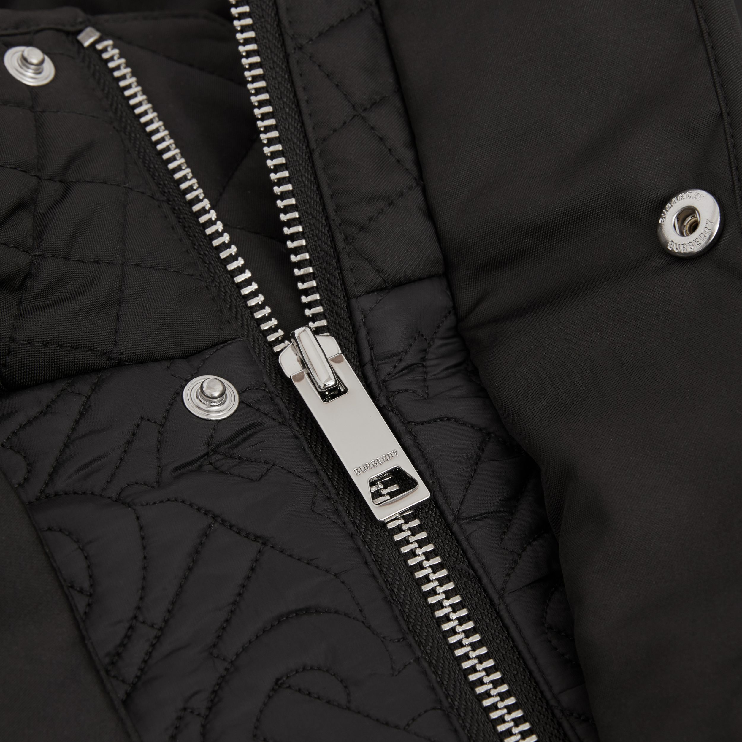 Detachable Hood Monogram Quilted Coat in Black | Burberry - 2