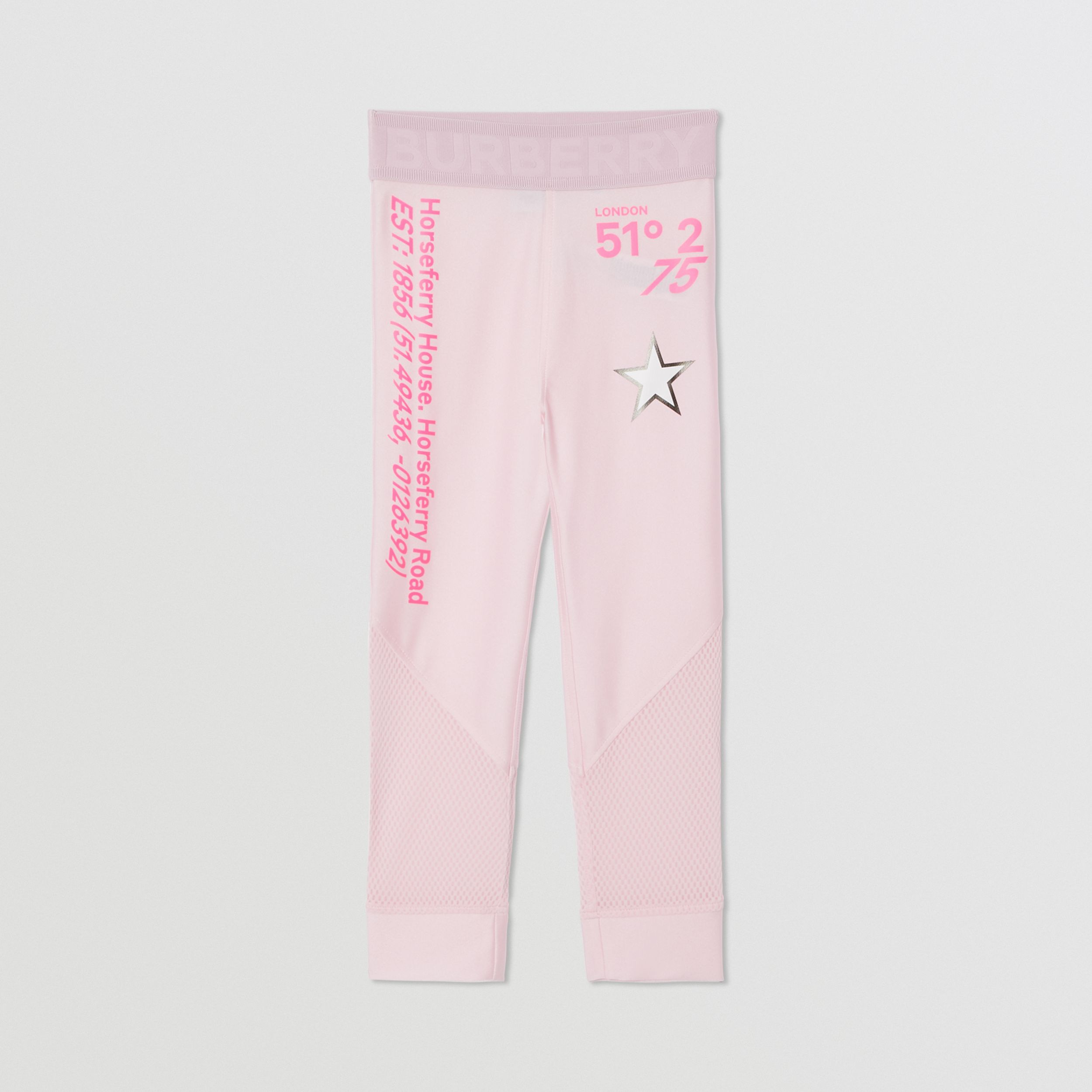 Montage Print Stretch Jersey Leggings in Cool Pink | Burberry - 1