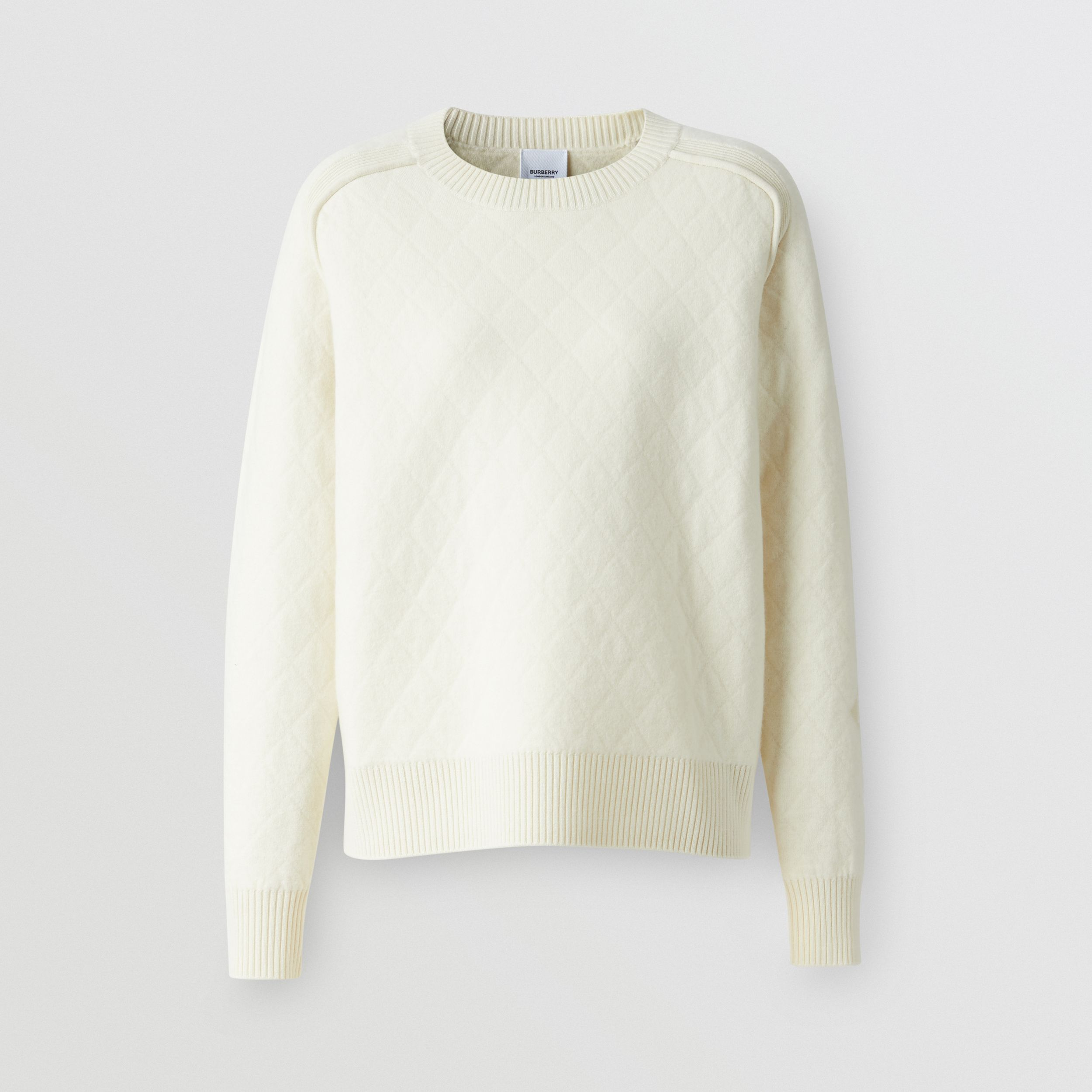 Diamond Knit Wool Sweater in Cream - Women | Burberry - 4